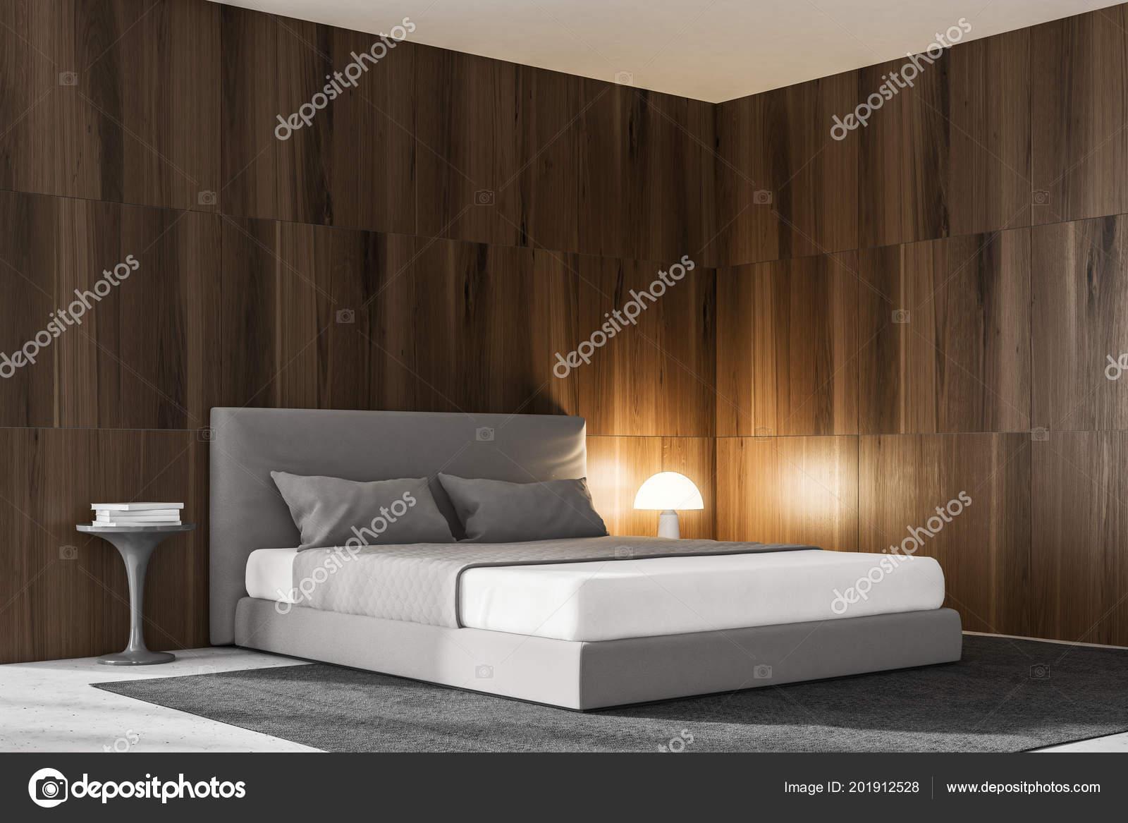 Widok Wnętrza Sypialni Ciemne Drewniane ściany Szare łóżko