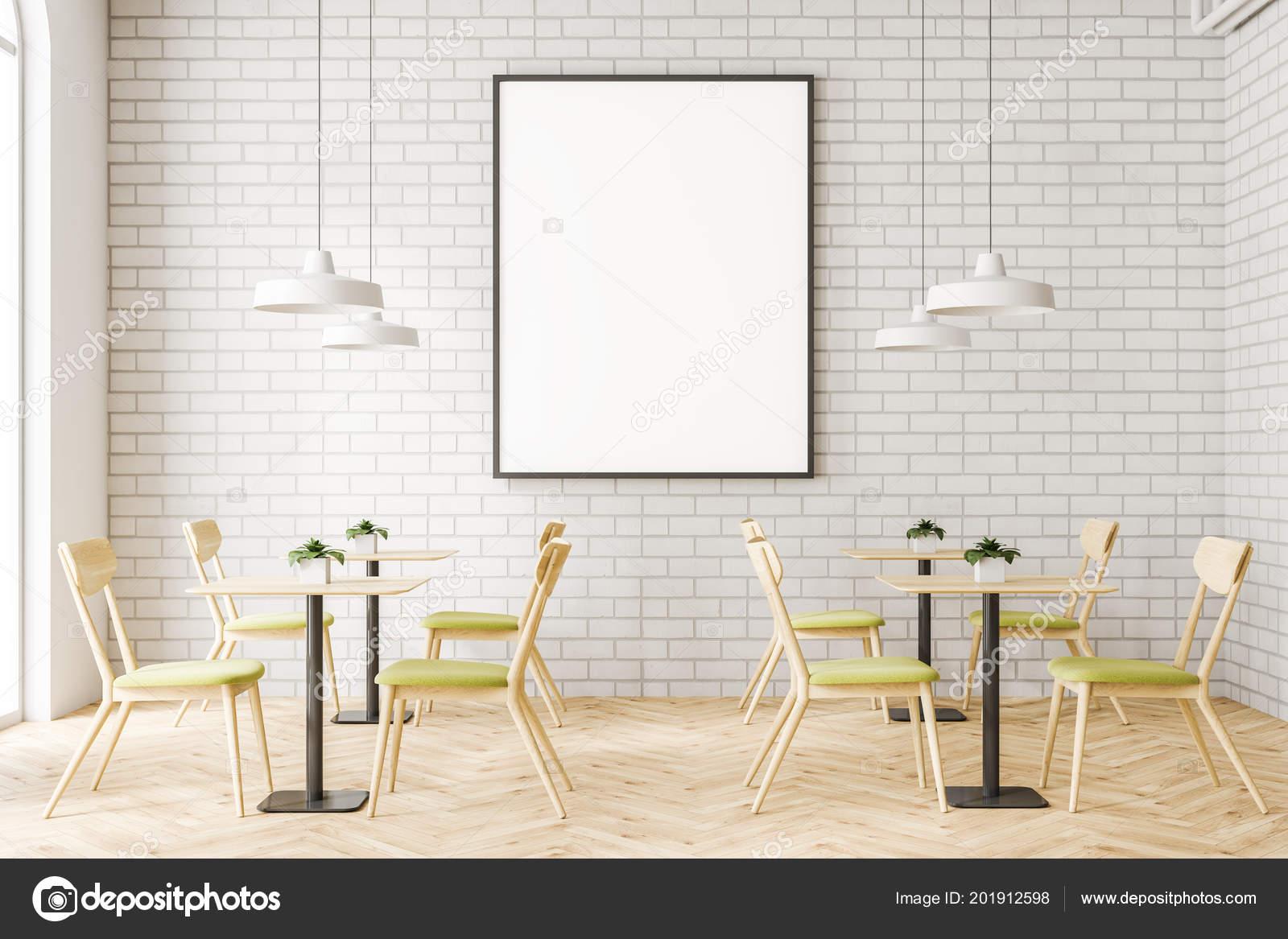 Het interieur van minimalistische restaurant met witte bakstenen