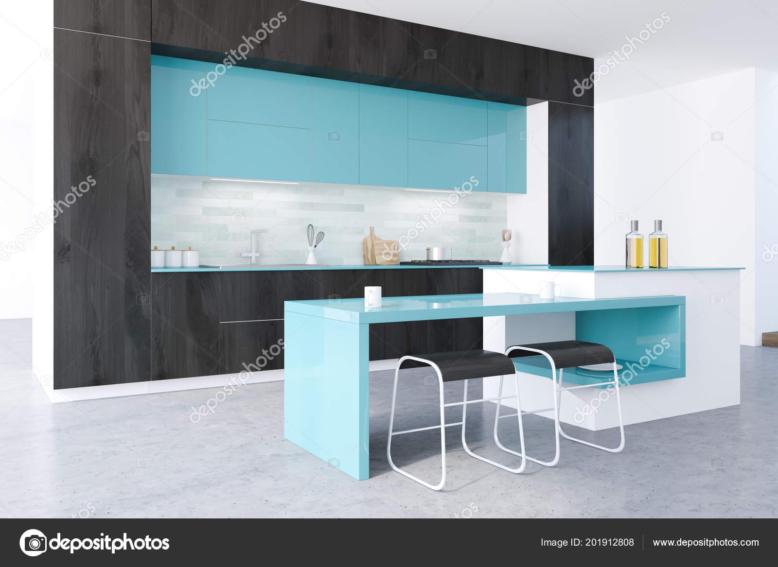 Black White Original Kitchen Concrete Floor Black Blue Countertops ...