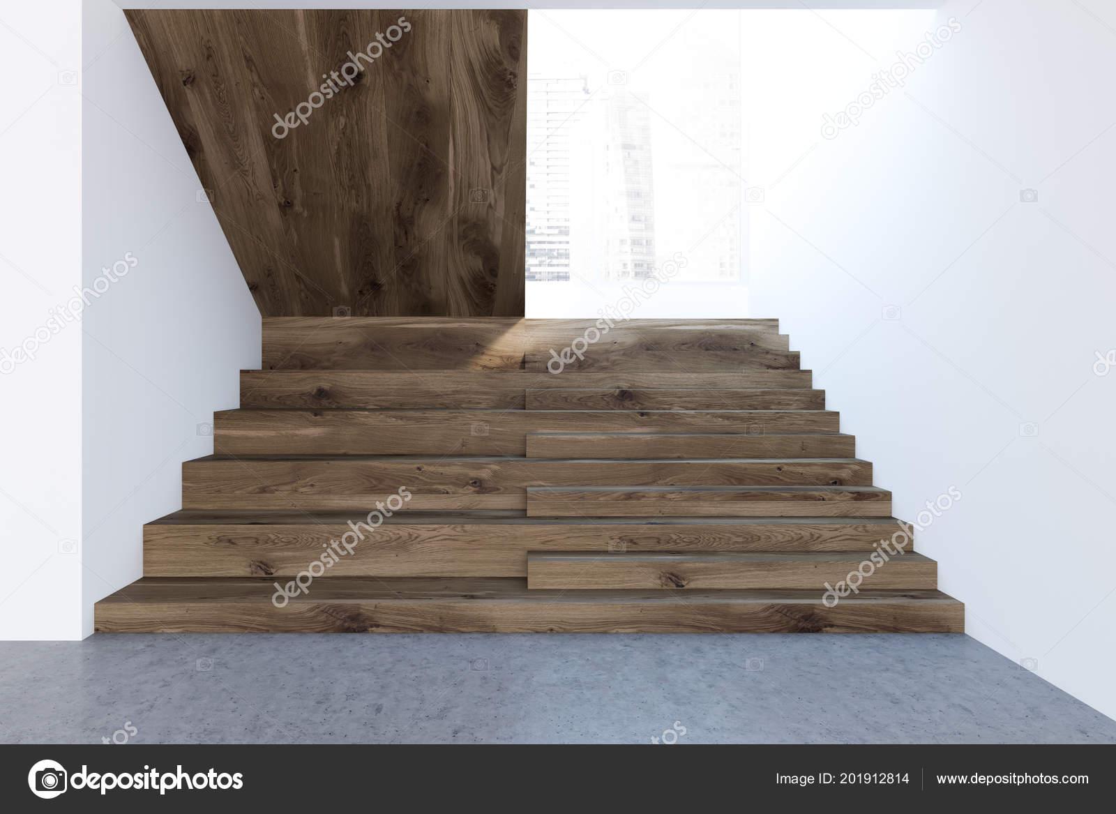 Houten trap hal van een witte muur van een luxe u2014 stockfoto