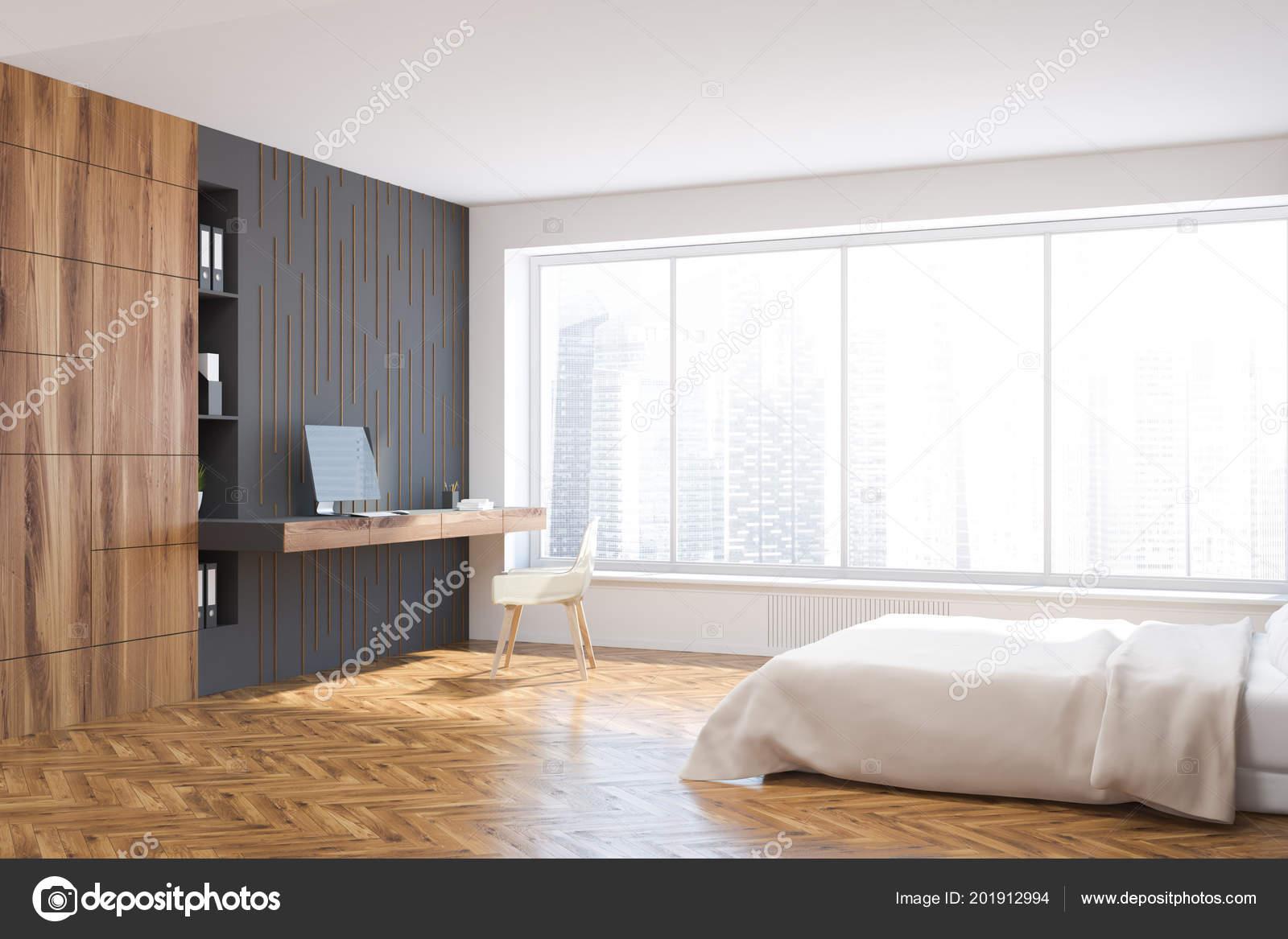 Weiße Und Graue Wand Schlafzimmer Ecke Mit Einem Weißen Bett ...