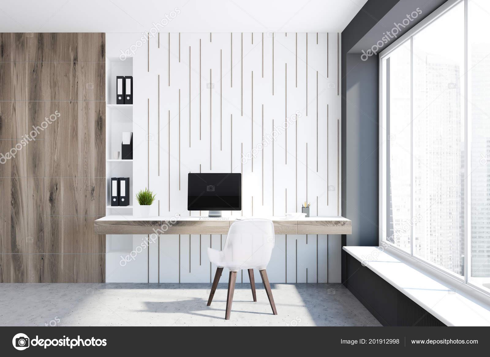Pareti In Legno Bianco : Parete legno bianco interni ufficio casa pavimento cemento con una