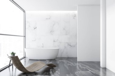 Loft white marble luxury bathroom interior with a gray marble floor, a white bathtub and a deck chair standing near the window. 3d rendering mock up