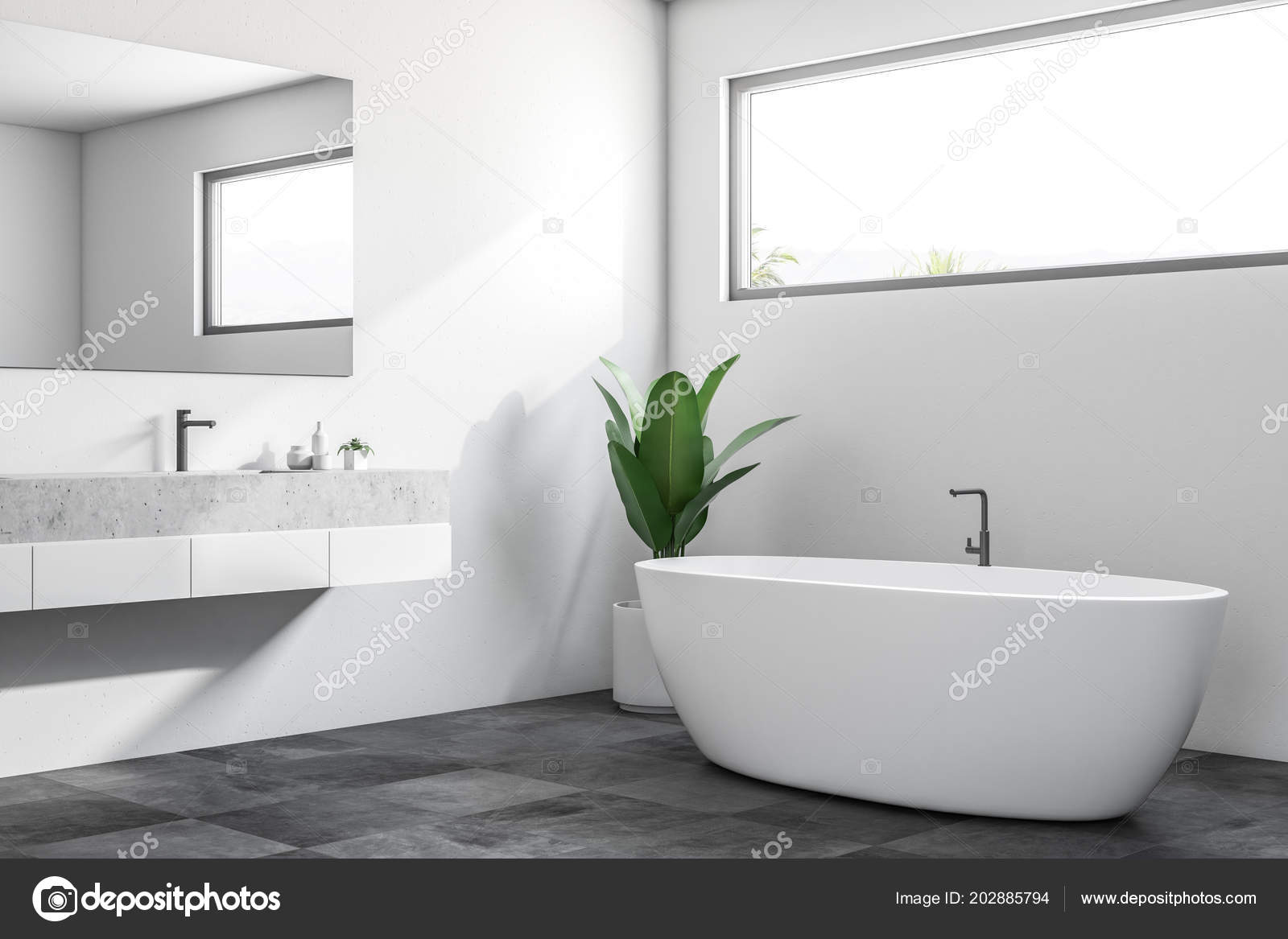 Vasca Da Bagno Stretta : Angolo bagno lusso con pareti bianche pavimento piastrellato nero