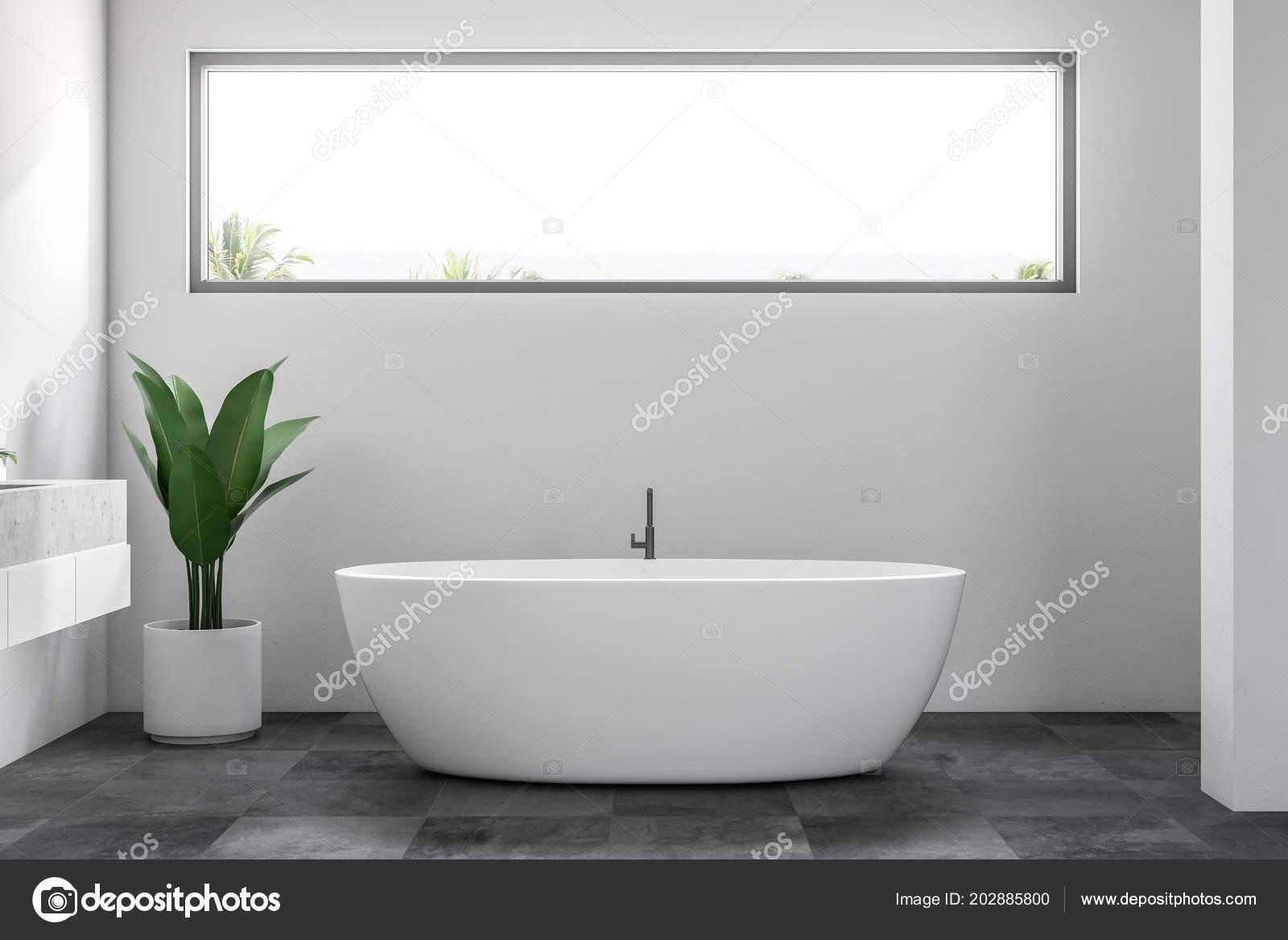 Luksusowe Wnętrze łazienki Białe ściany Kafelki Podłogowe