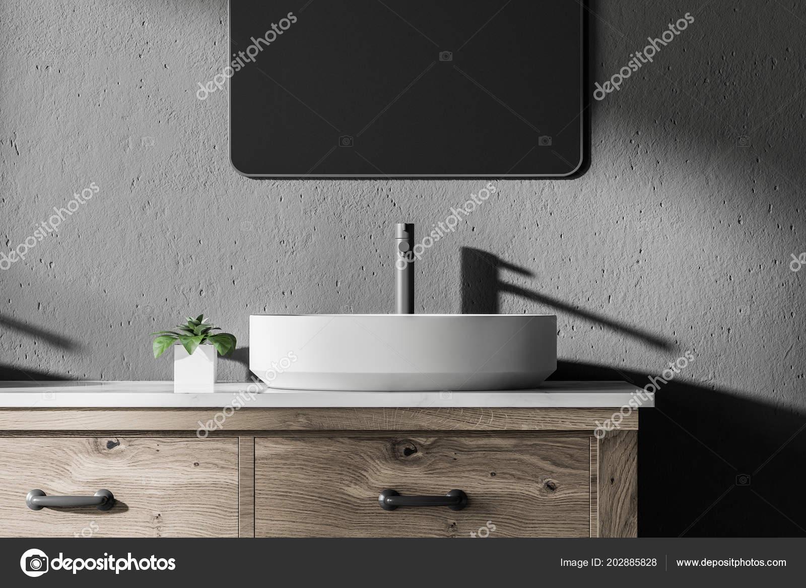 White Vessel Sink Standing Modern Bathroom Interior Wooden
