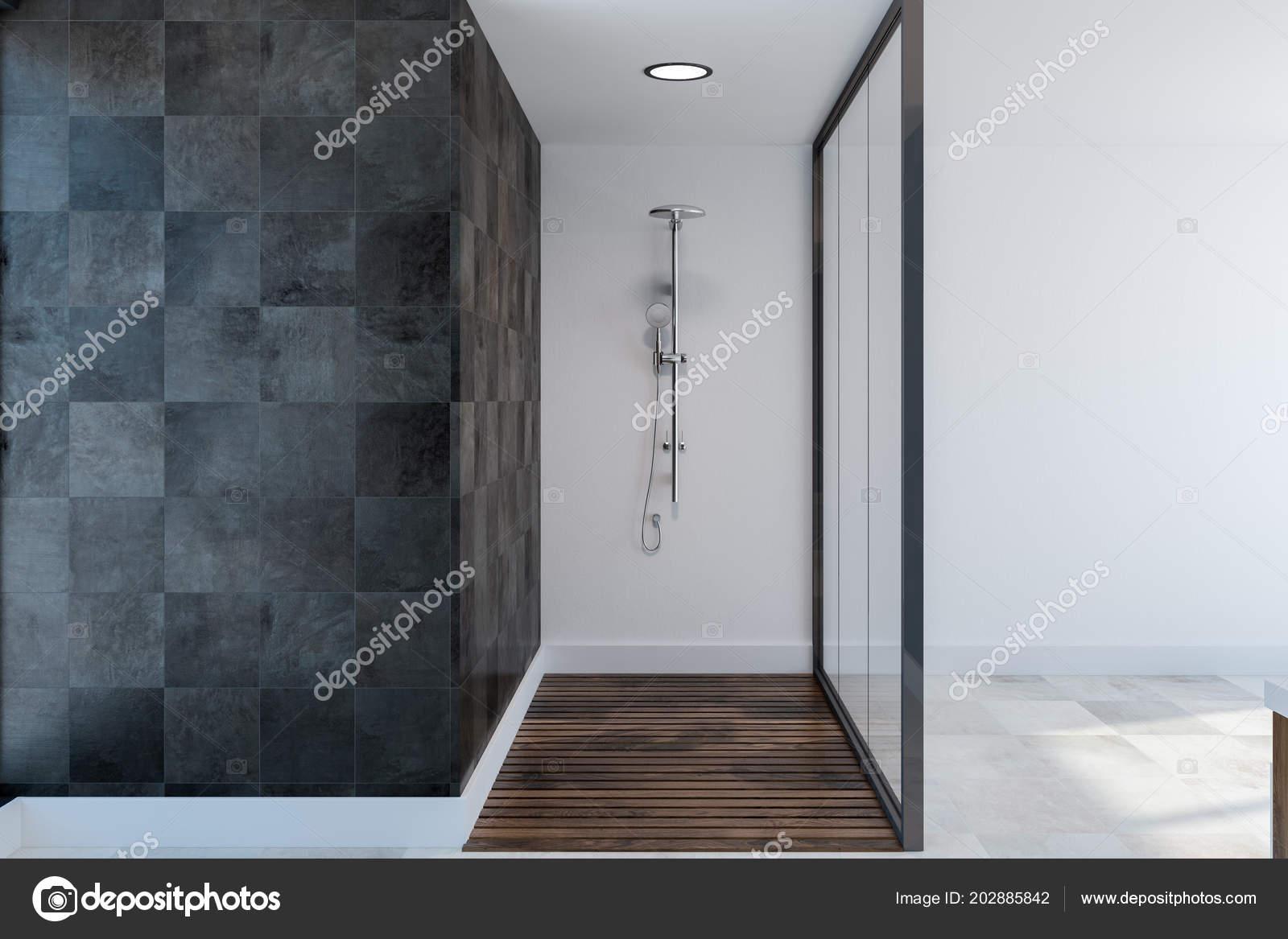 Glass Shower Stall Spacious Bathroom Interior Black Tile