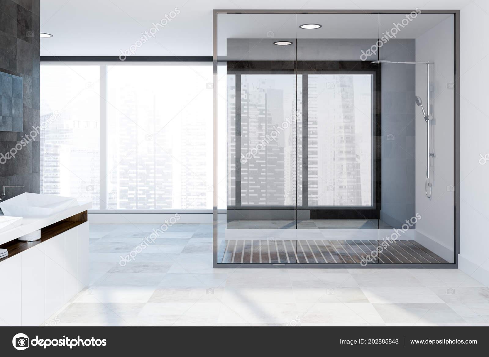 Ducha cristal interior panor mica ba o con paredes azulejo for Piso ducha bano