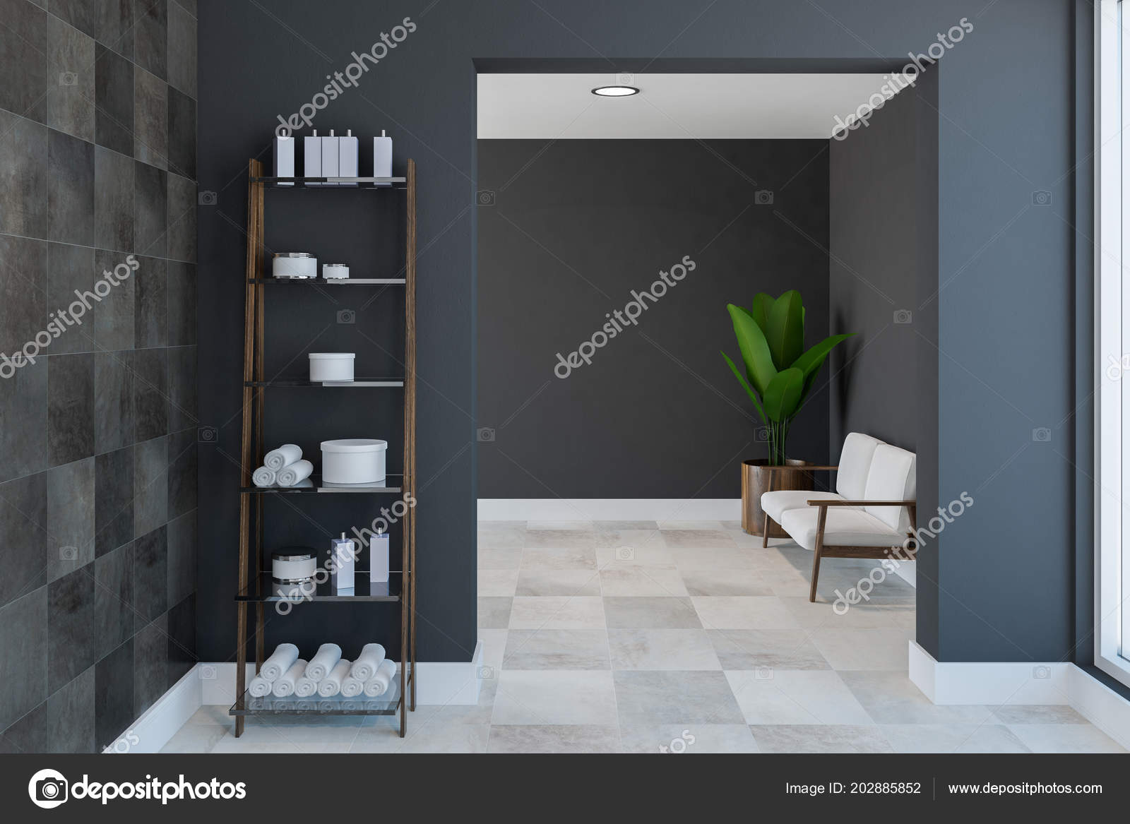 Shelves Towels Shampoo Spacious Bathroom Interior Black Tile Gray ...