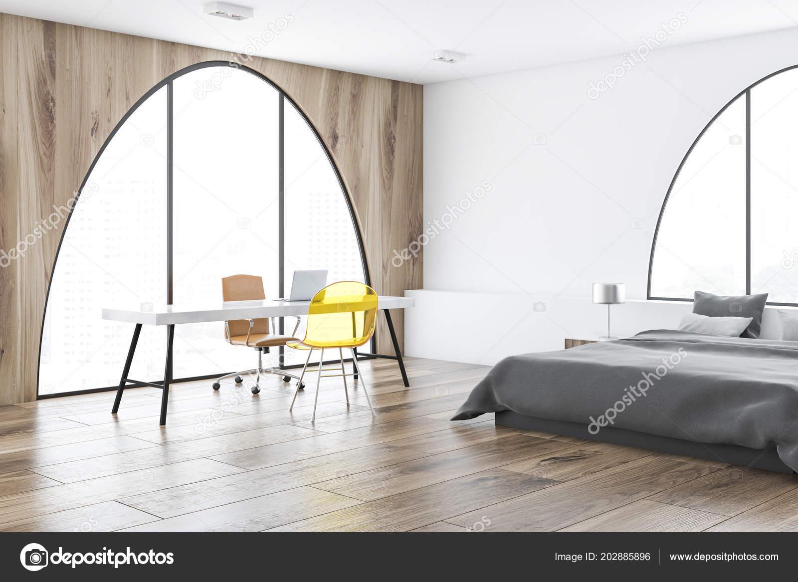 Accueil bureau chambre intérieure avec blanc bois des murs