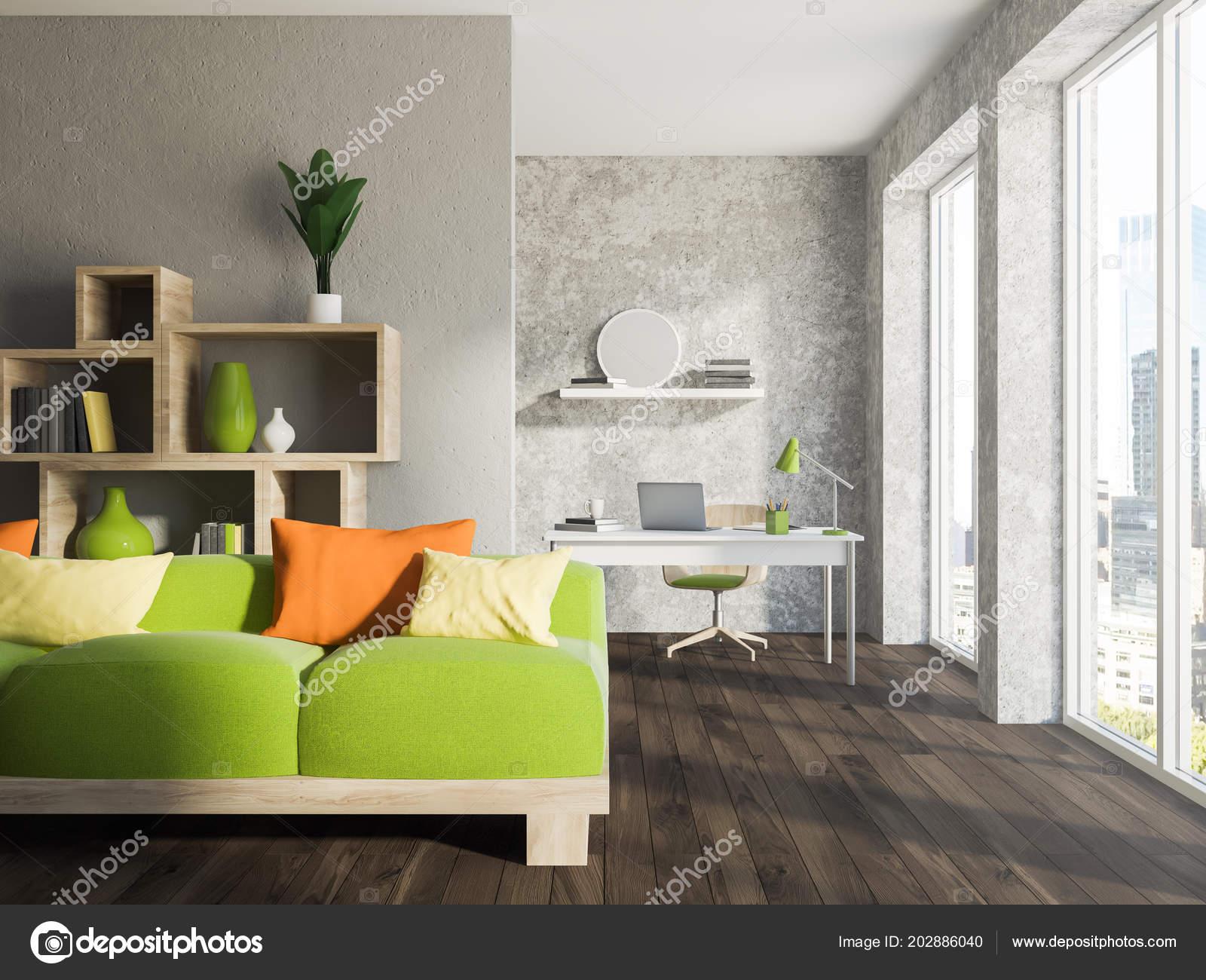 Interni Casa Grigio : Soggiorno loft grigio interni ufficio casa con pavimento legno
