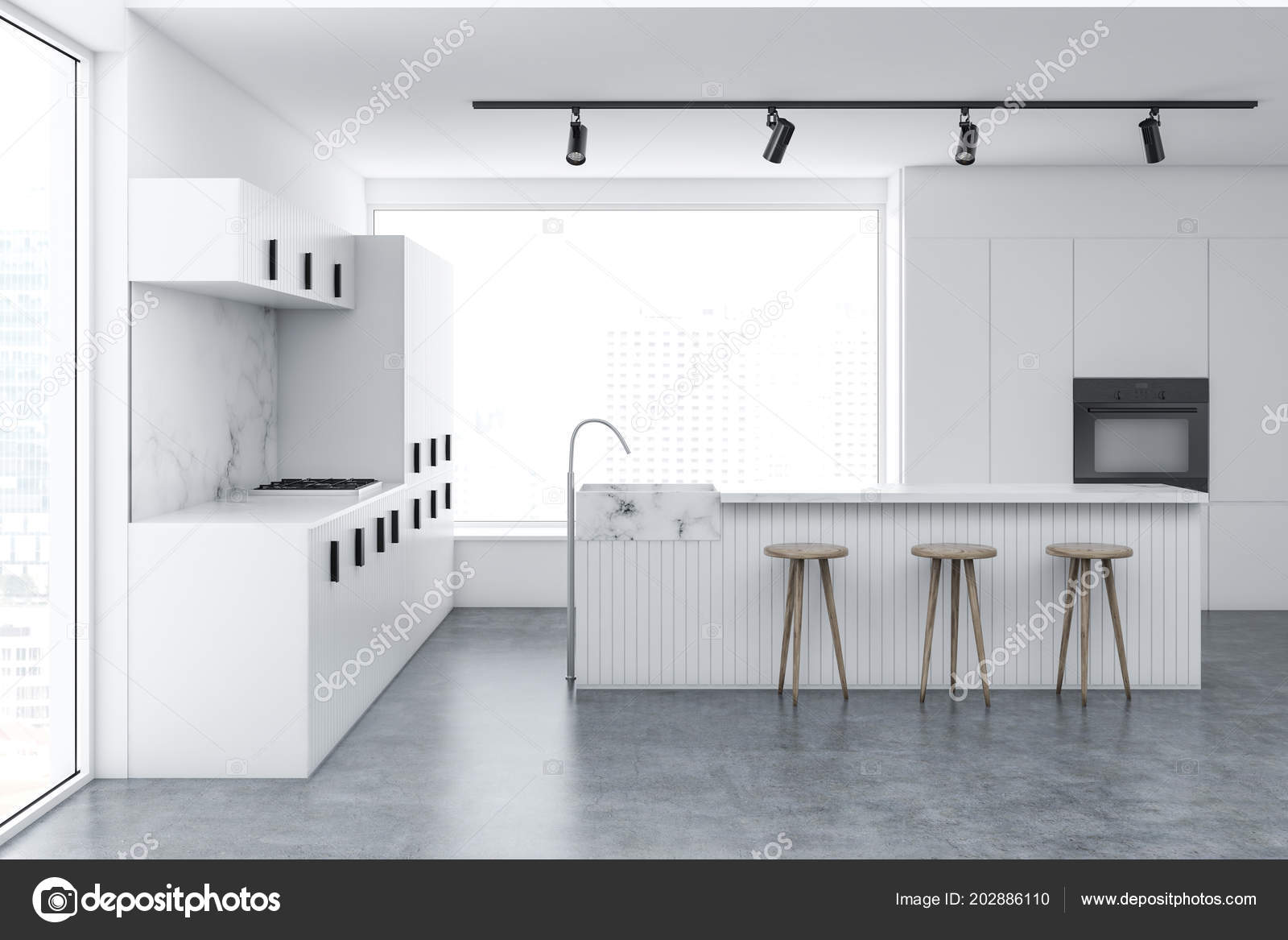 Loft Kitchen Interior White Marble Walls Concrete Floor White Bar Stock Photo C Denisismagilov 202886110