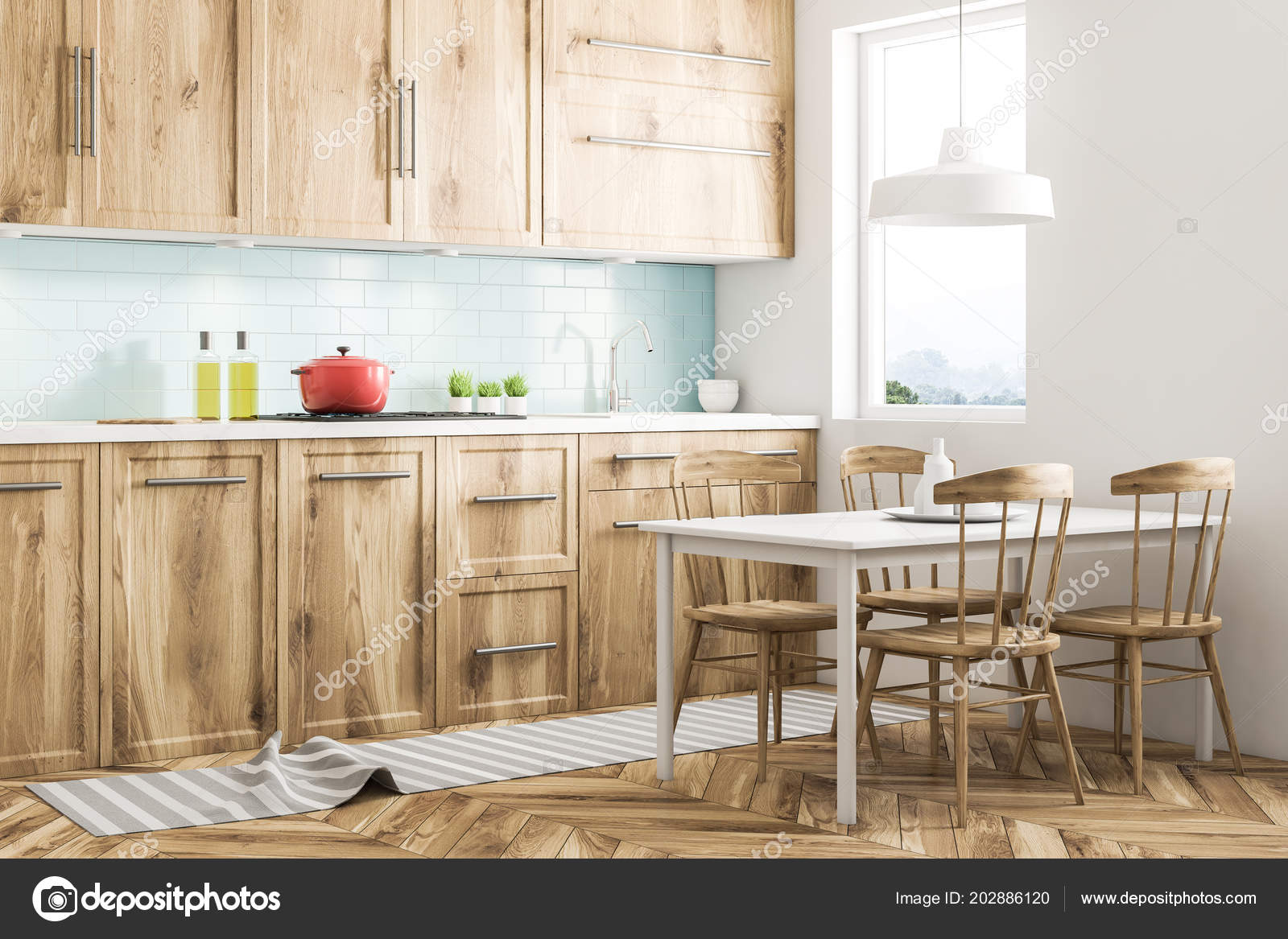 White Scandinavian Style Kitchen Interior With Blue Tiled And White Walls,  A Wooden Floor, Wooden Countertops And Cabinets And A White Table With  Chairs.