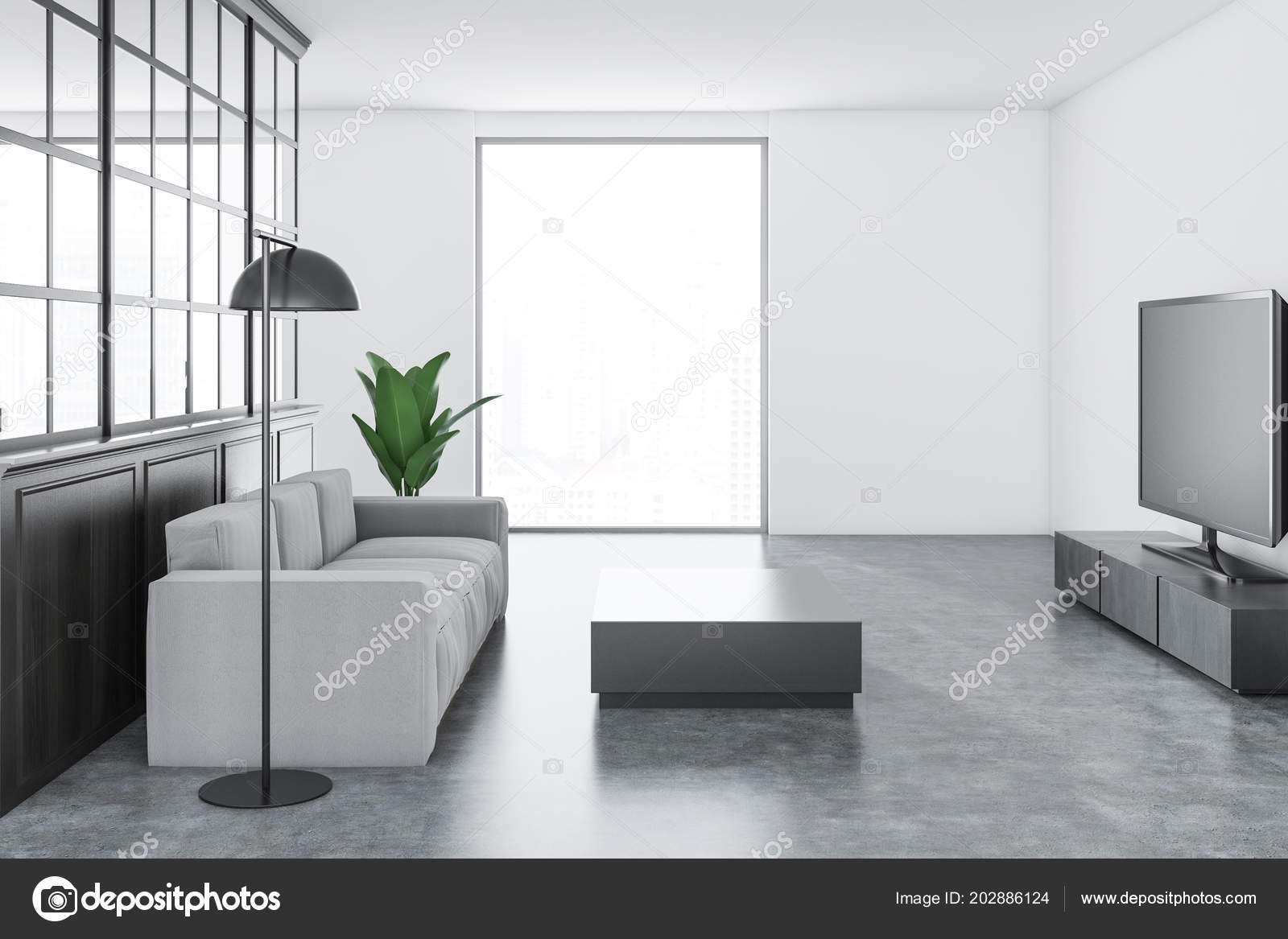 Valeur Blanc Salon Intérieur Avec Sol Gris Temps Confortable Canapé ...