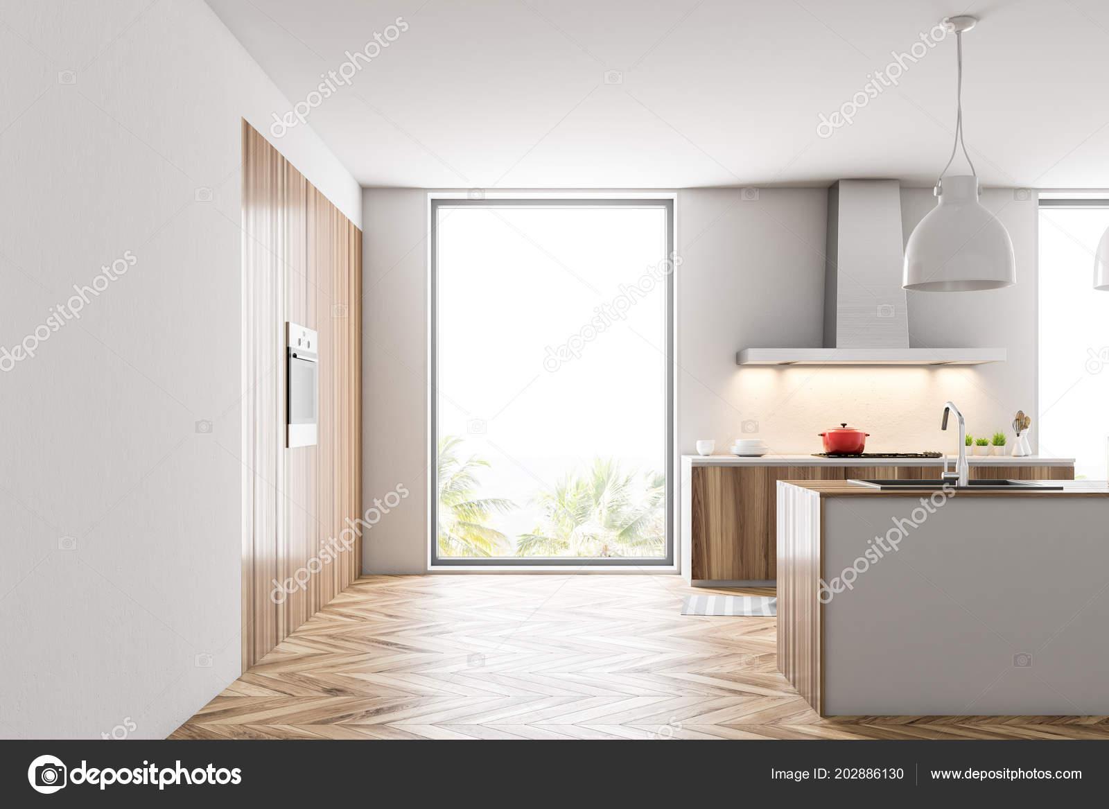 Fußboden Zu Weißer Küche ~ Loft küche interieur mit holz und weiße wände einen hölzernen