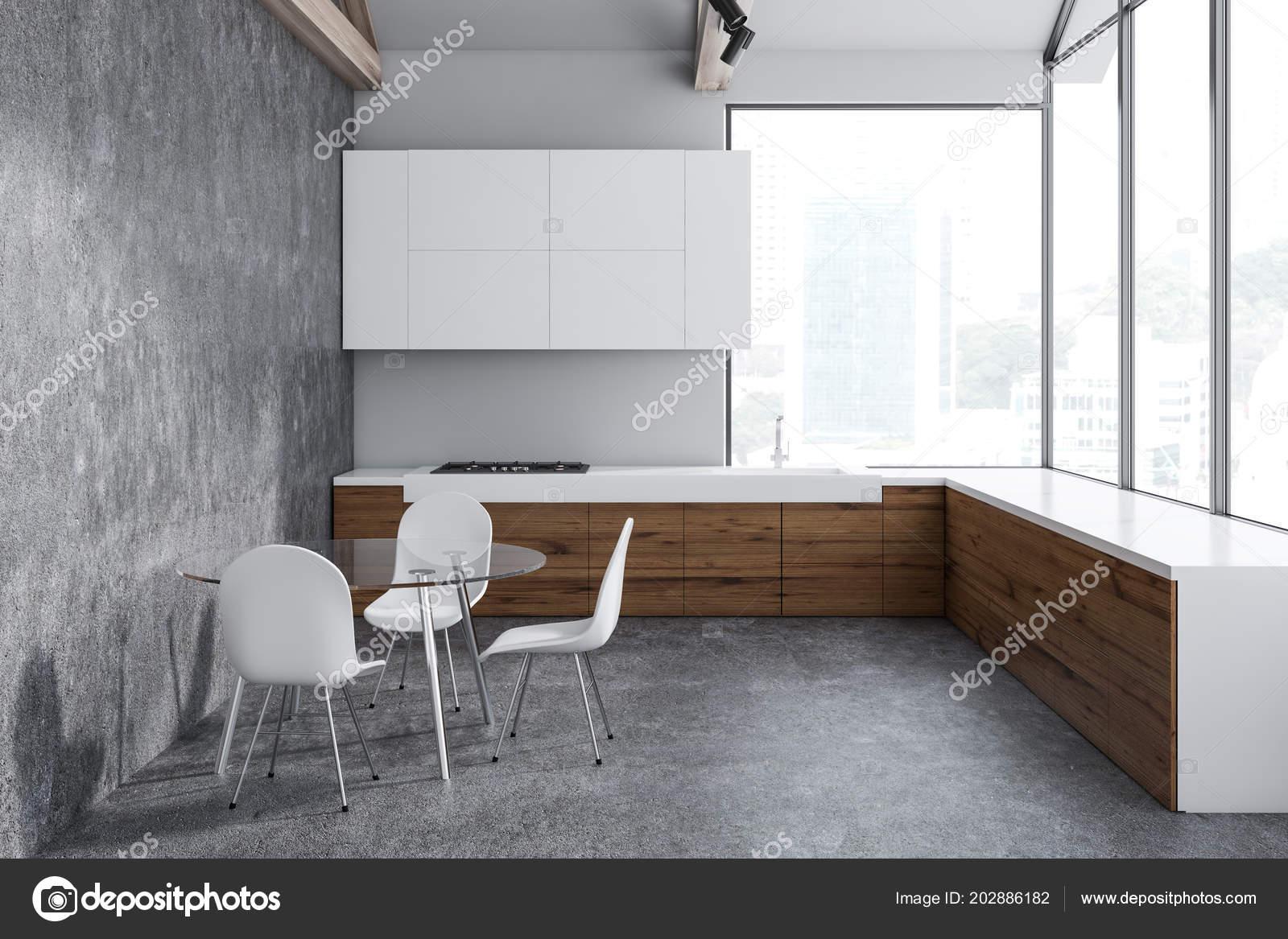 int rieur cuisine blanc b ton avec plancher b ton des. Black Bedroom Furniture Sets. Home Design Ideas