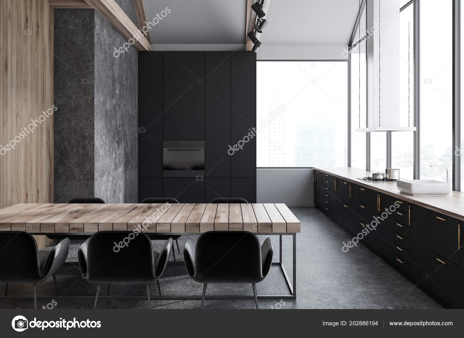 intérieur cuisine Étroite blanc béton avec plancher béton des