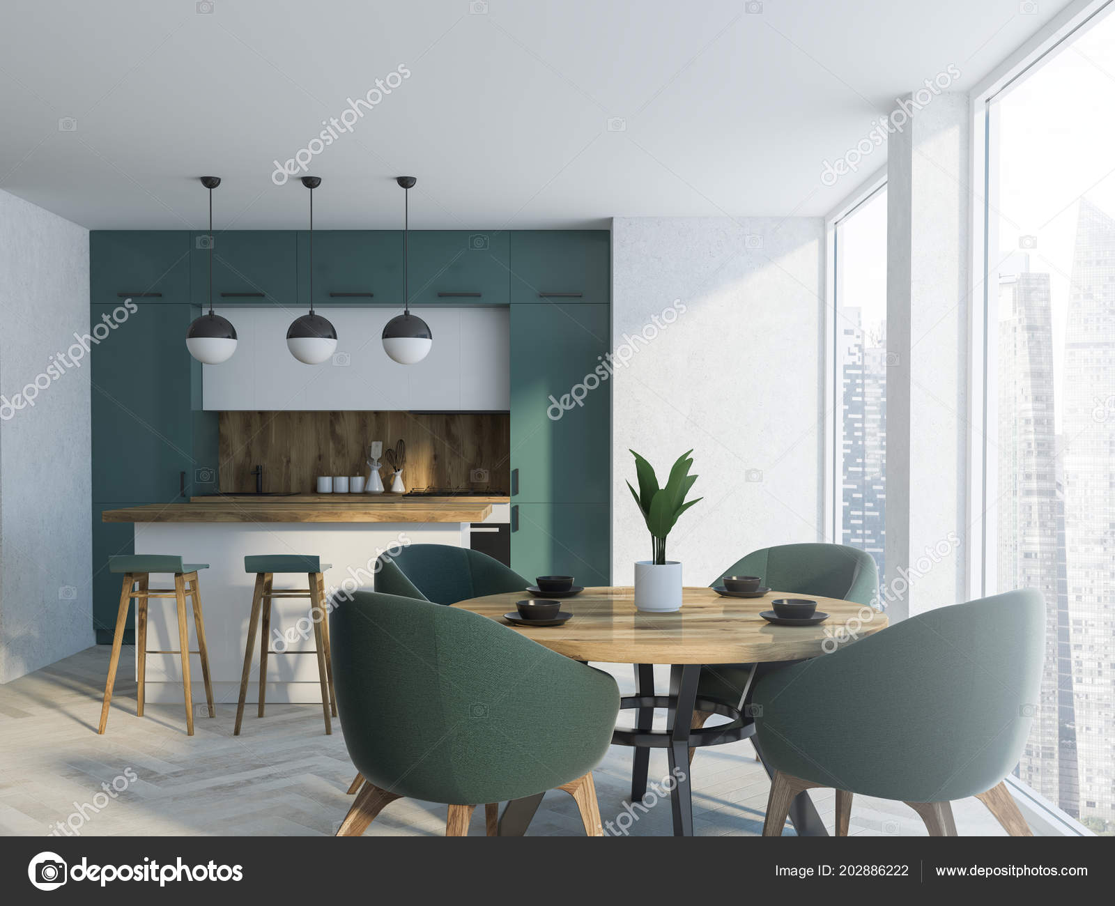 White Green Dining Room Interior Concrete Floor Wooden Table Chairs Stock Photo