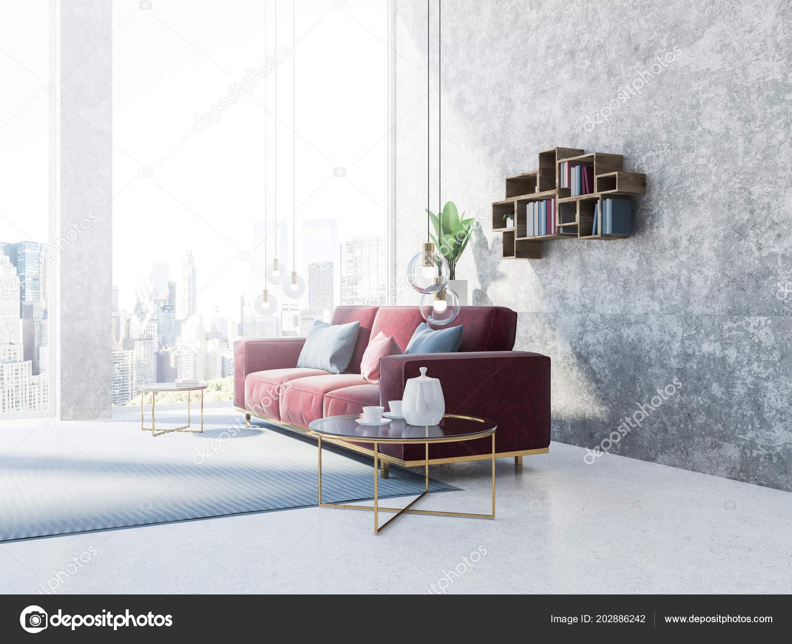 Concrete Loft Living Room Interior Carpet Floor Red Couch