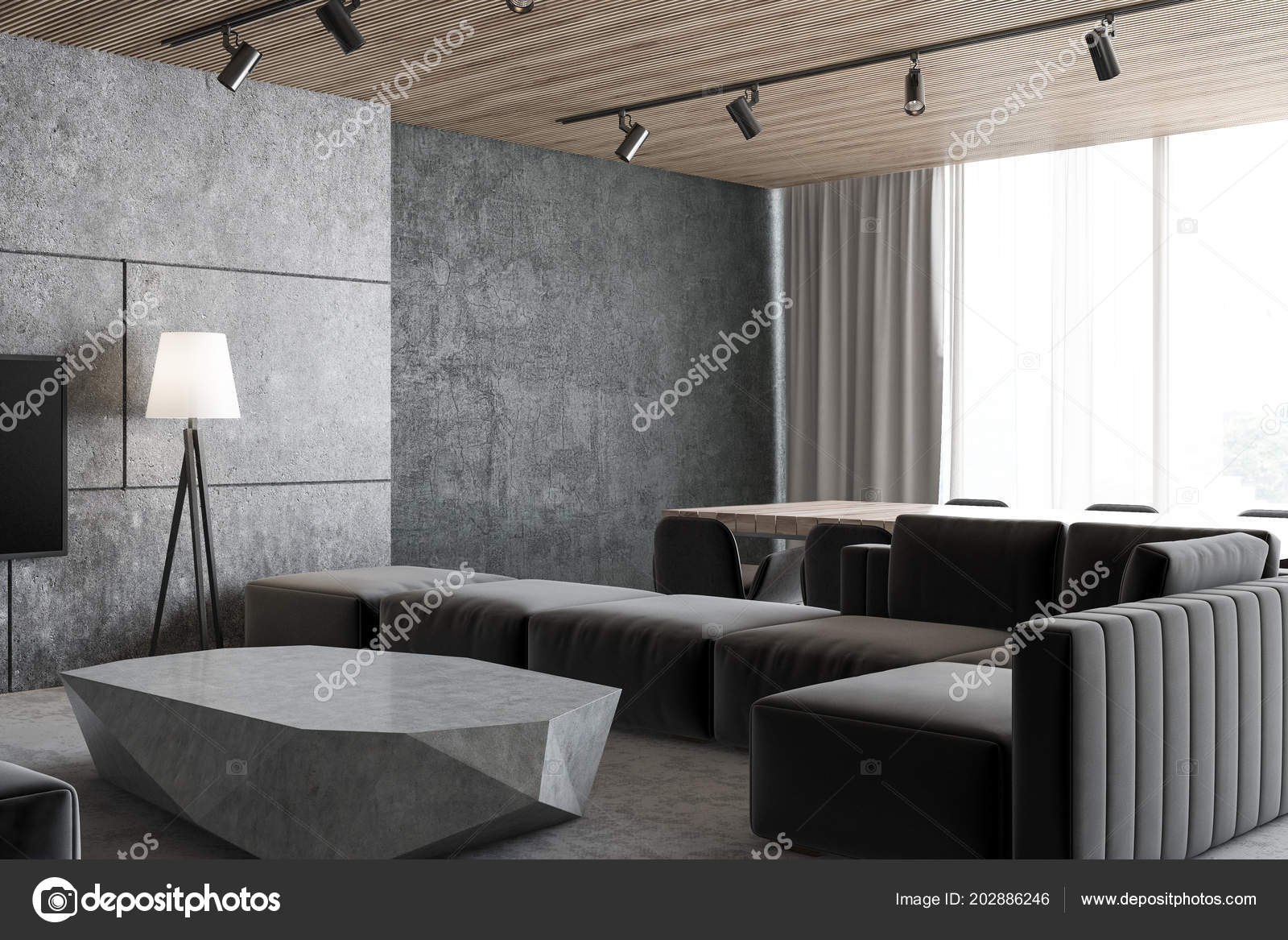 Concrete Loft Living Room Corner Gray Floor Dark Gray Couch