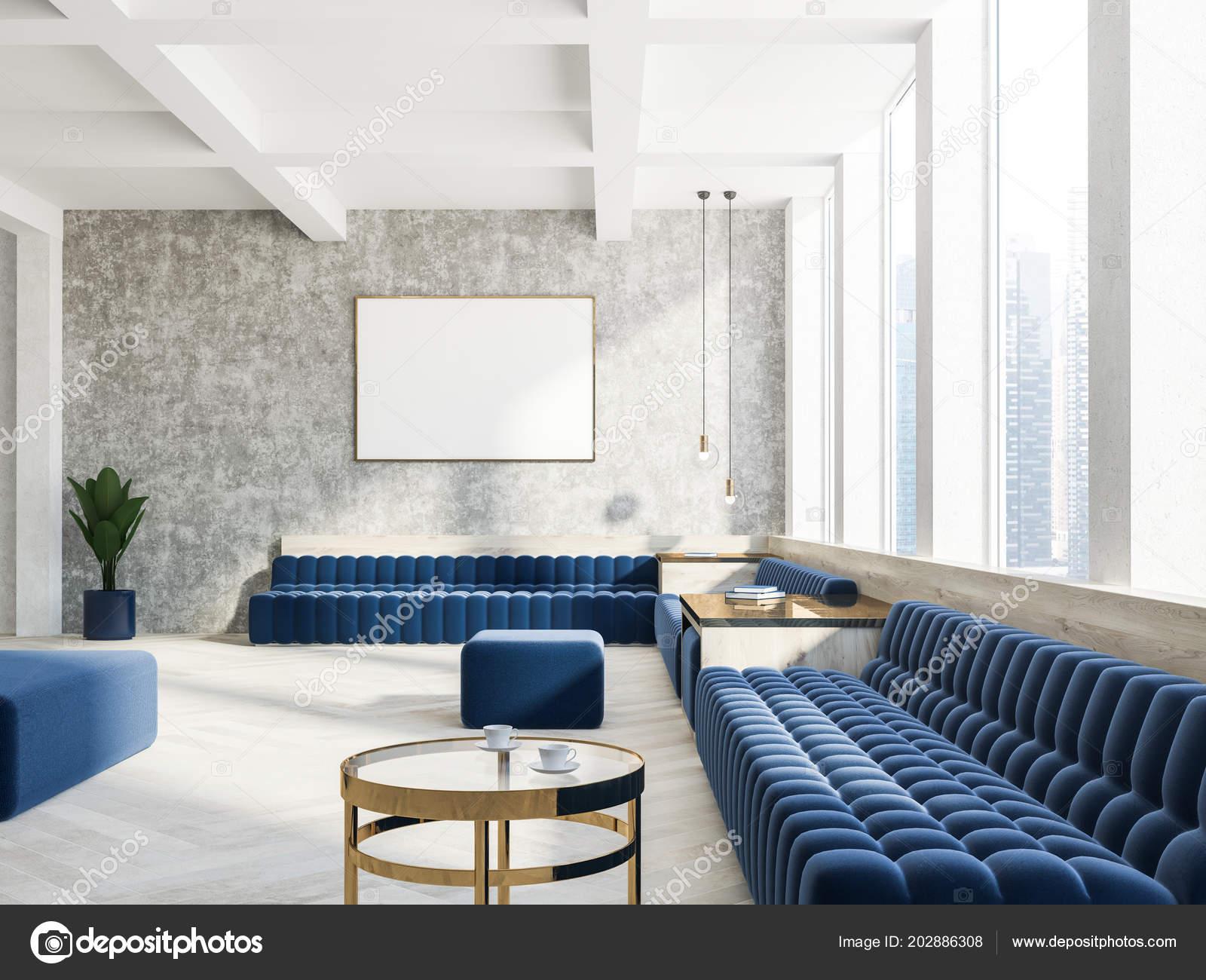 Concrete Wall Living Room Interior White Floor Dark Blue ...