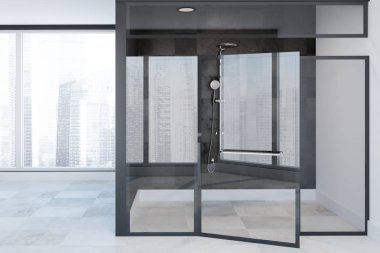 Glass shower stall in a panoramic bathroom interior with black tile walls, a white floor and a cityscape. 3d rendering mock up