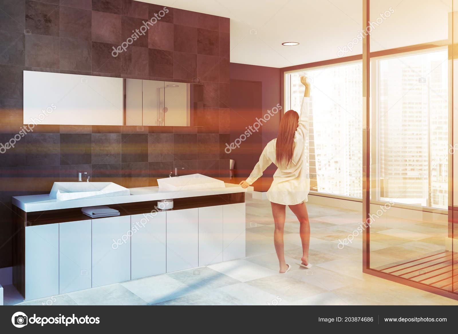 Muebles Bano Lavabo Cristal.Ducha Cristal Interior Panoramica Bano Con Paredes Azulejo