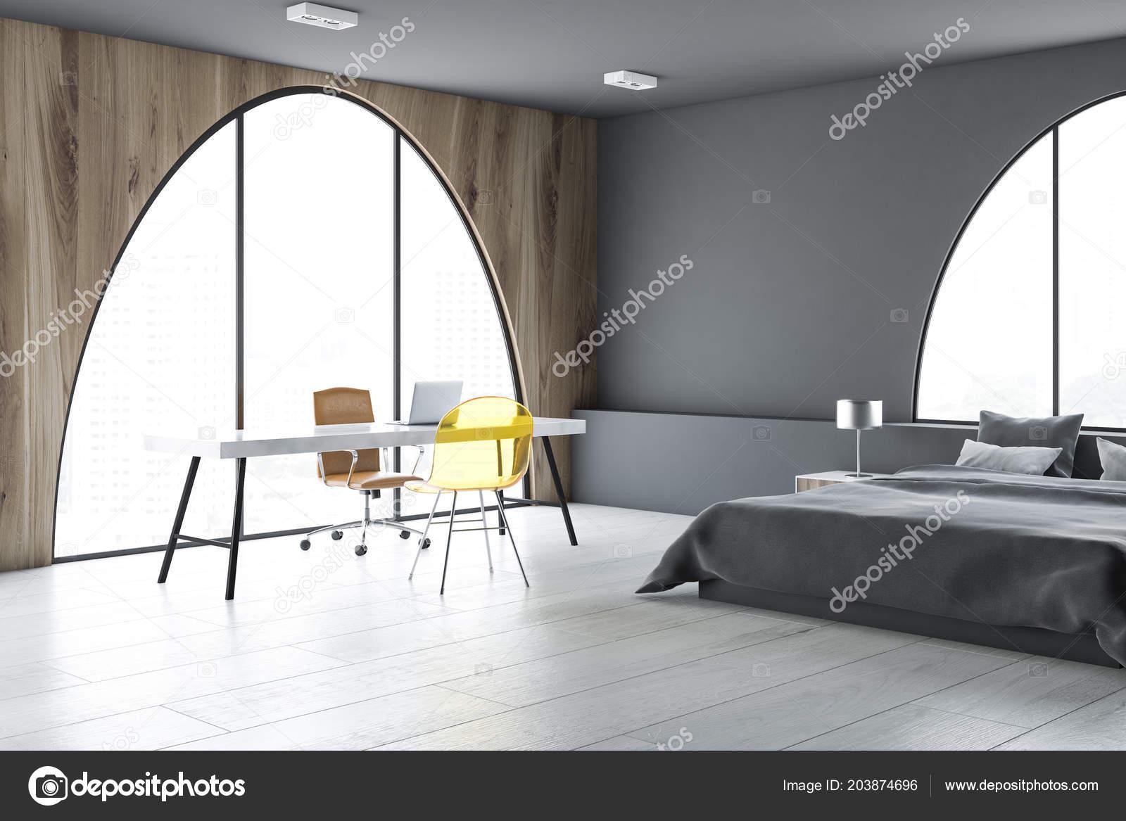Bureau maison intérieur chambre coucher avec dark gris des