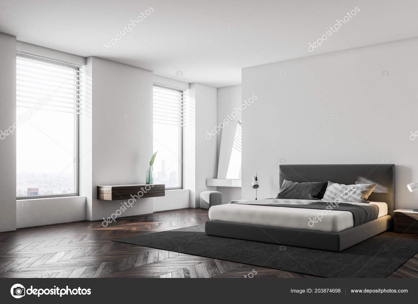 Pavimenti Camere Da Letto.Angolo Camera Letto Lusso Con Pareti Bianche Pavimenti Legno Letto