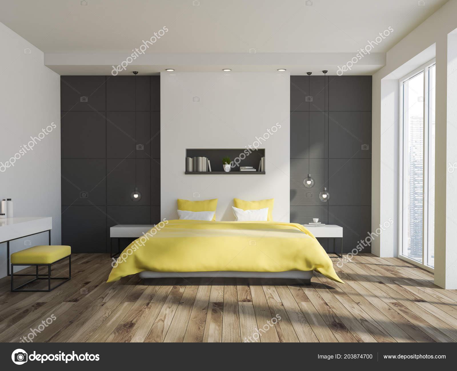 Blanc Gris Mur Intérieur Chambre Coucher Avec Lit Jaune Une ...