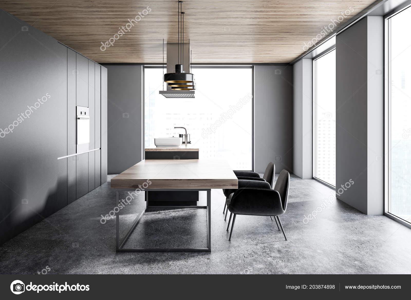 Kuchnia Loft Ciemno Szare ściany Podłogi Betonowej Szary