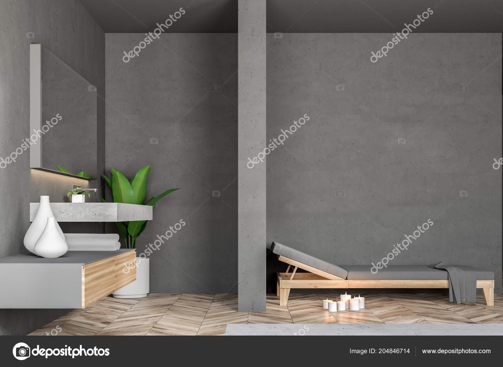 Intérieur Salle Bain Mur Gris Avec Plancher Bois Loft Windows ...