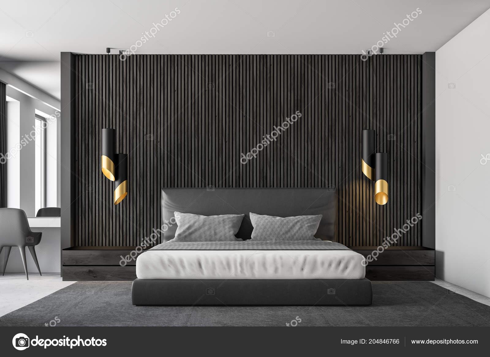 Beau Intérieur Chambre Coucher Principale Des Murs Bois Noir Avec Plancher U2014  Photo
