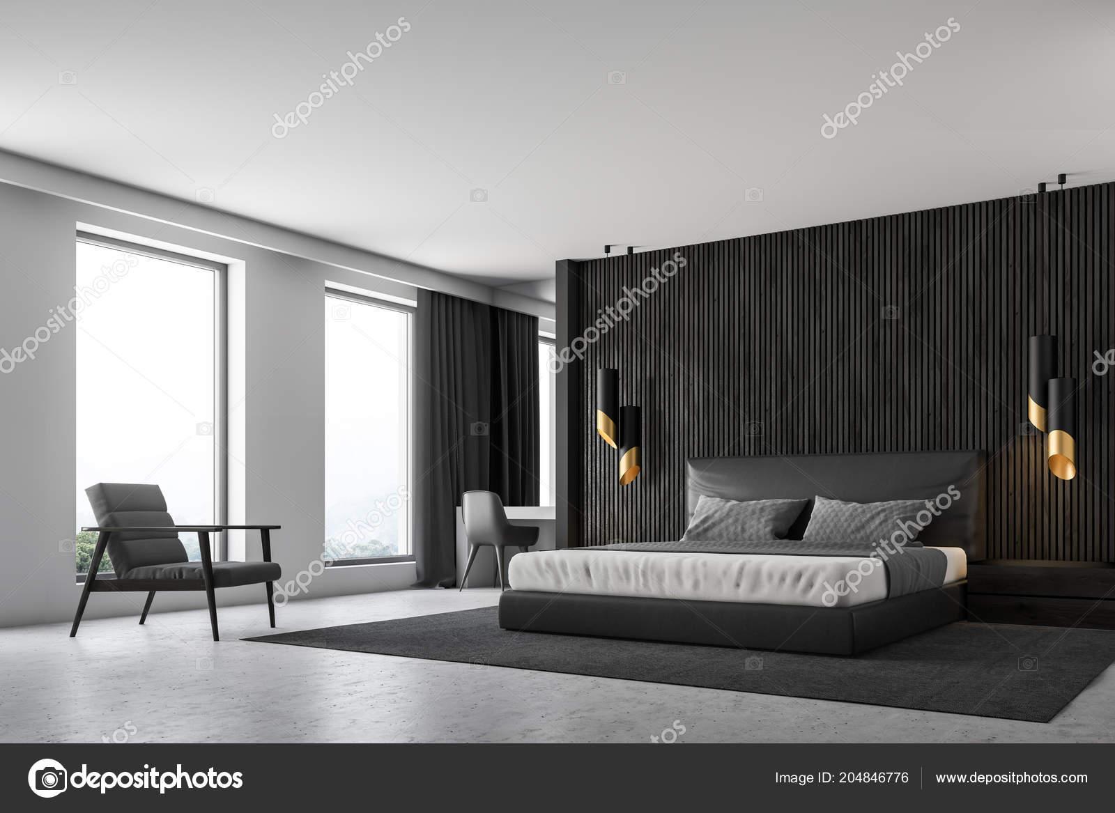 Black Wood Walls Master Bedroom Interior Concrete Floor Loft Windows ...