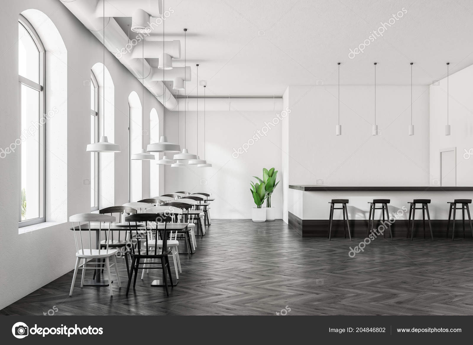 Arched Windows Cafe Interior Dark Wood Floor White Walls White
