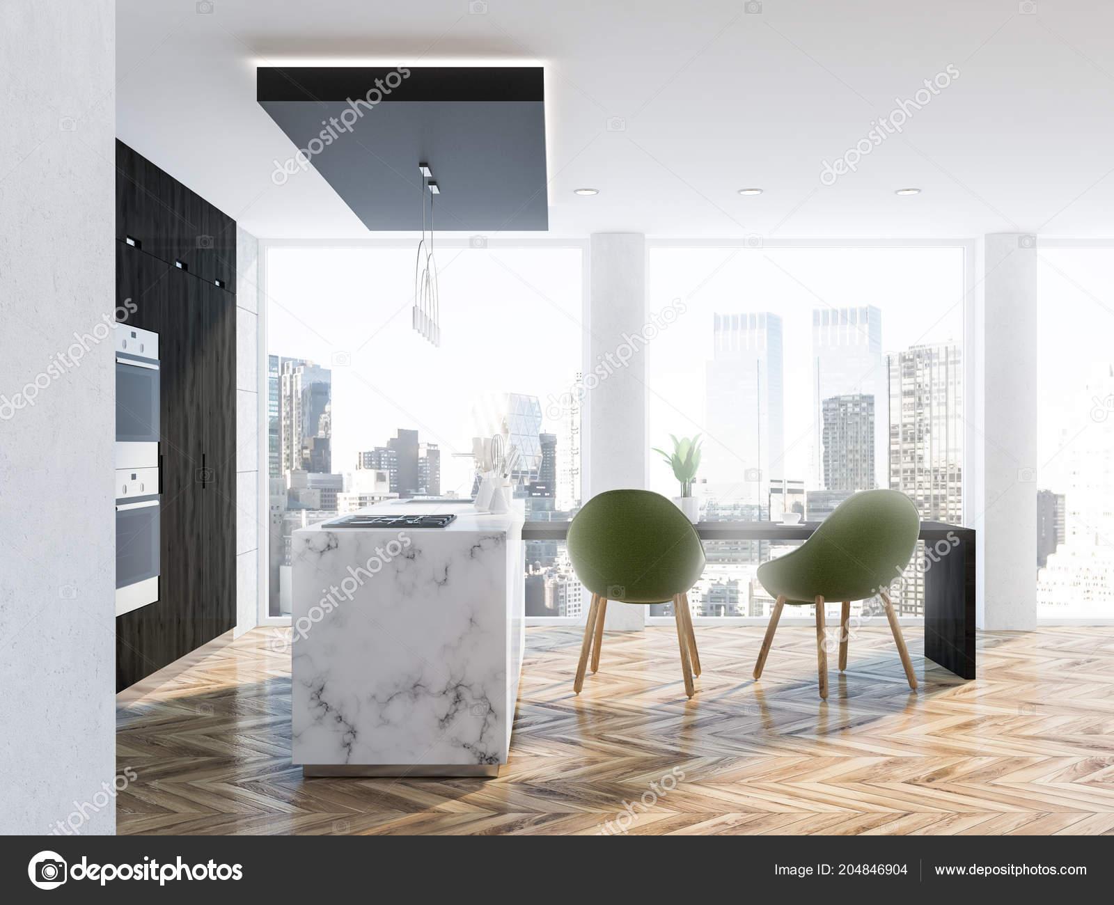 Loft Kitchen Interior White Marble Walls Wooden Floor Marble Countertops Stock Photo C Denisismagilov 204846904