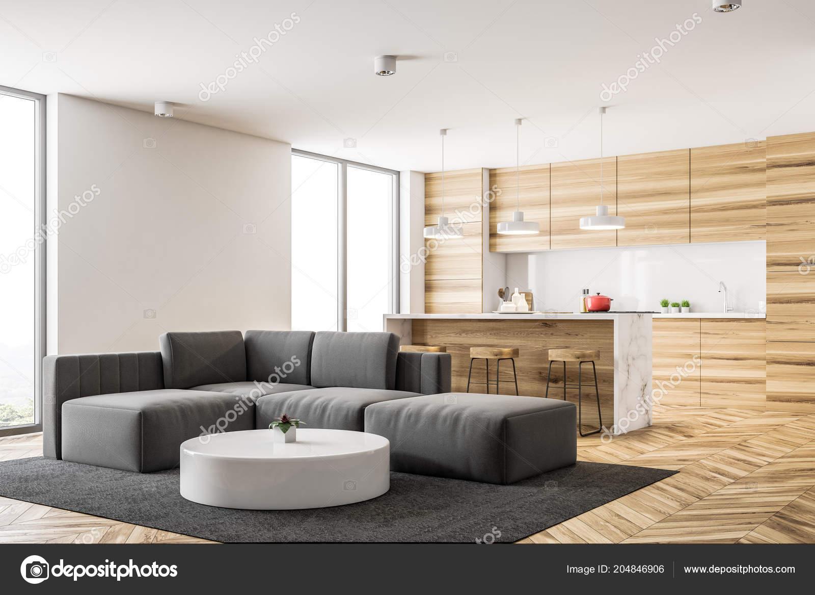 Angolo cucina legno con bar loft windows soggiorno con divano u2014 foto
