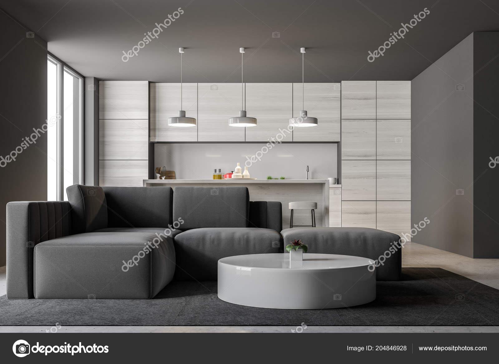 Grigio interiore della cucina con bar loft windows soggiorno con