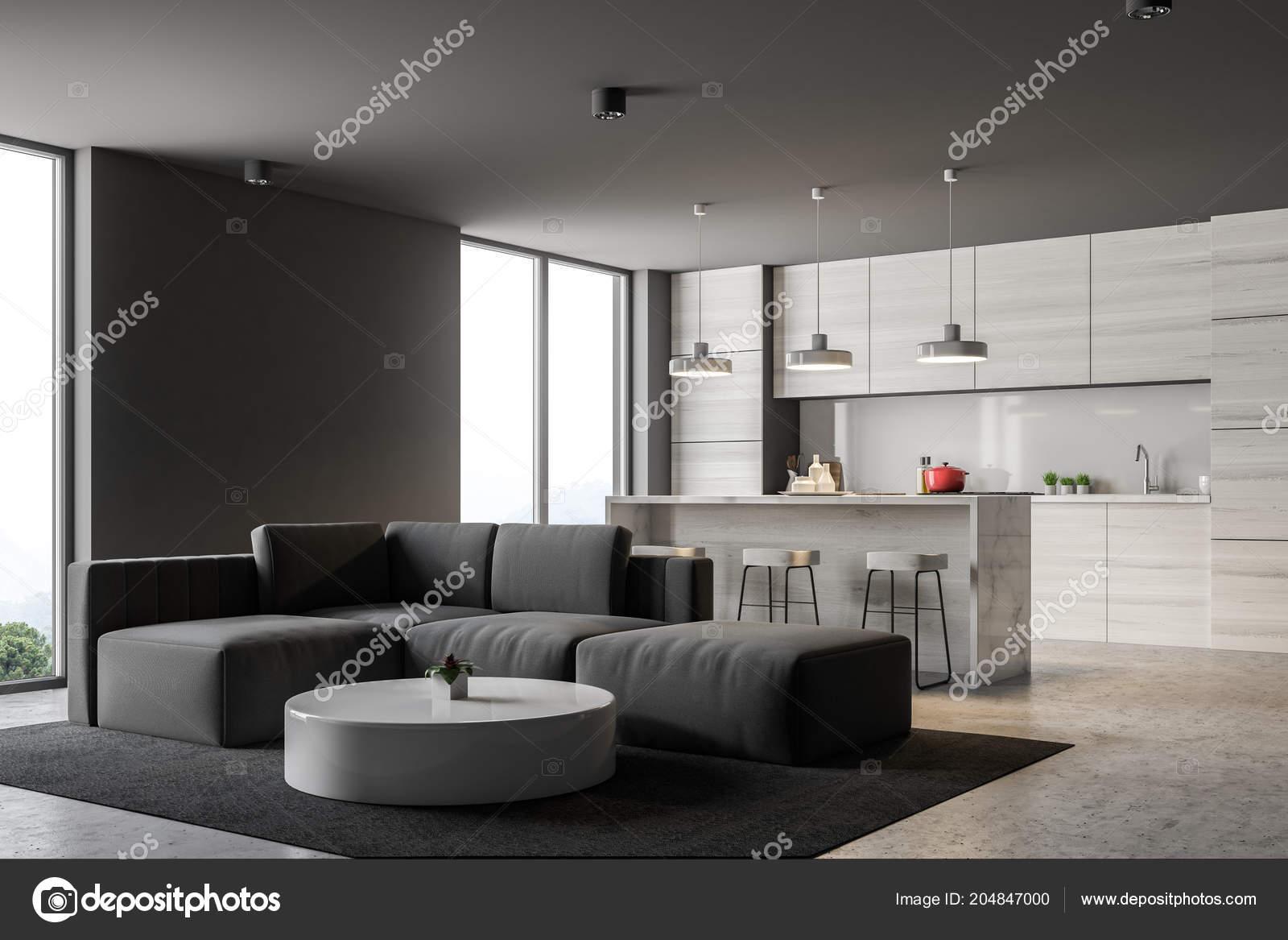 Grigio angolo cottura con bar loft windows soggiorno con divano