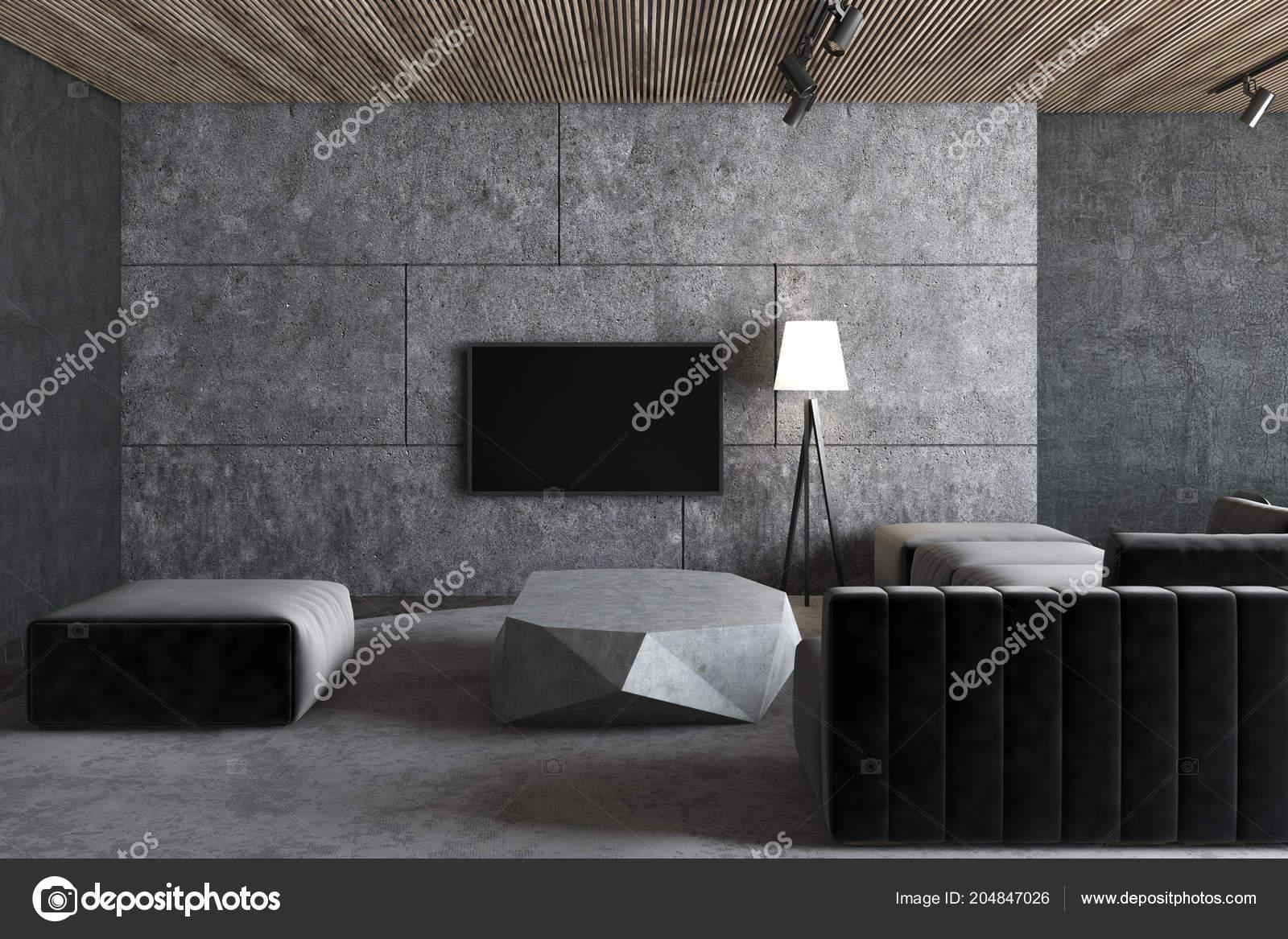 Concrete Loft Living Room Interior Gray Floor Dark Gray ...