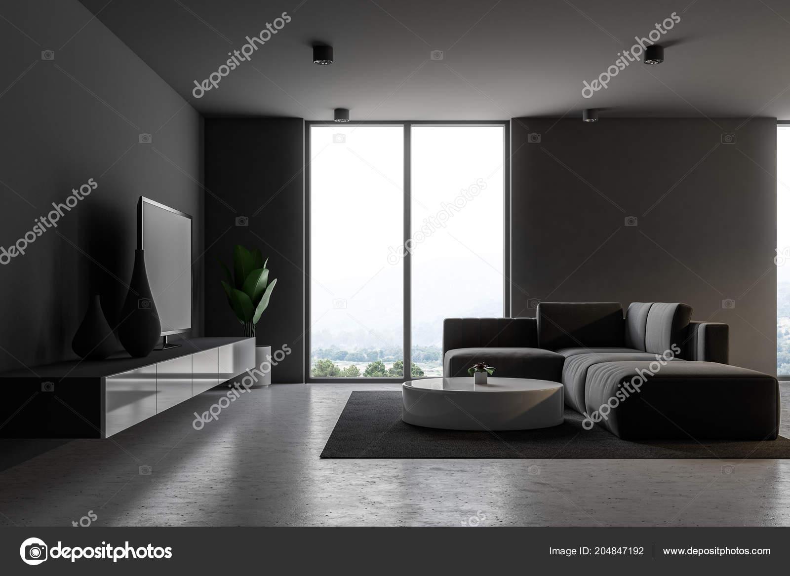 Salon Moderne Gris Intérieur Avec Windows Loft Plancher Béton Canapé ...