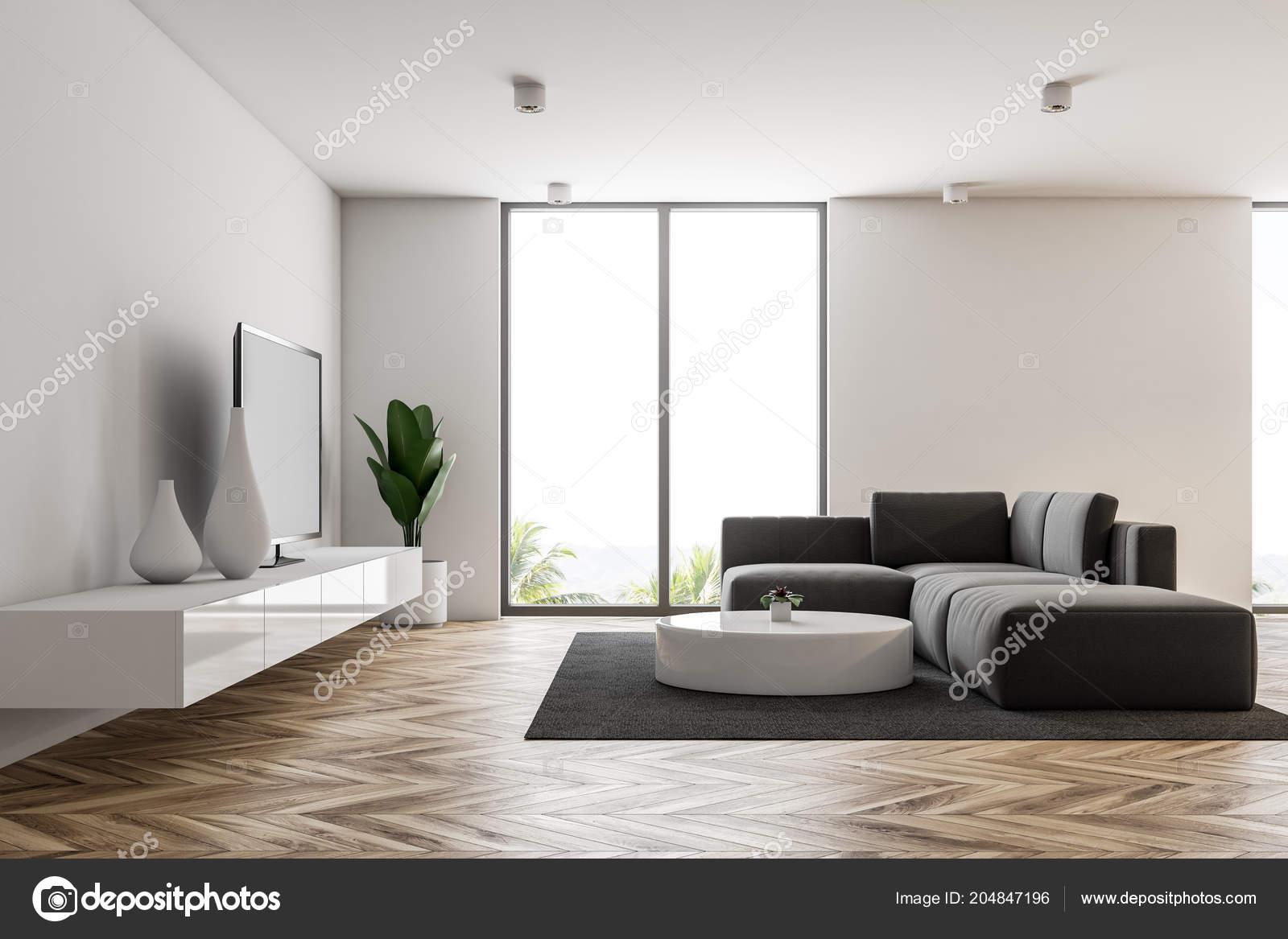 Weiße Moderne Wohnzimmer Interieur Mit Loft Fenster Einen ...