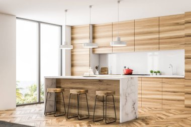 Wooden kitchen corner with a bar and loft windows. A wooden floor and white walls. 3d rendering mock up