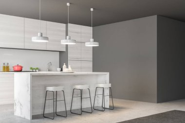 Gray kitchen interior with a bar and loft windows. A concrete floor and gray walls. A side view 3d rendering mock up