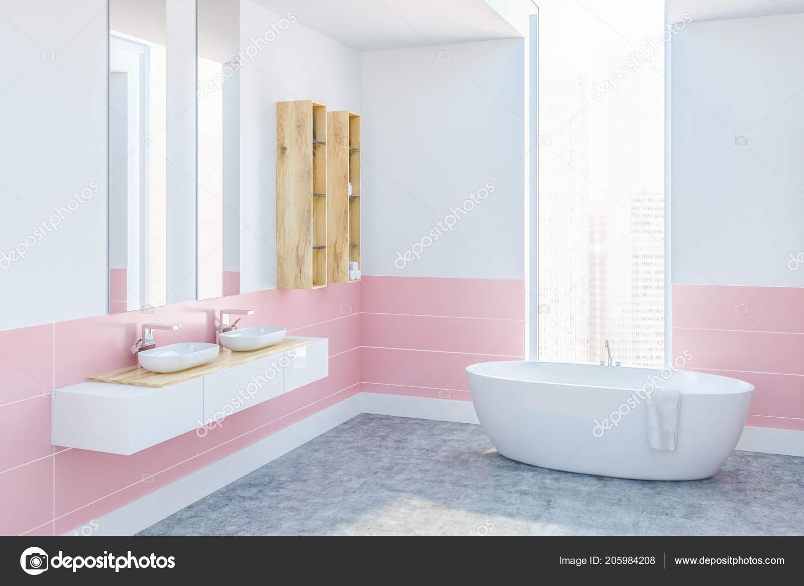 Coin Salle Bains Moderne Avec Des Murs Blancs Roses Plancher
