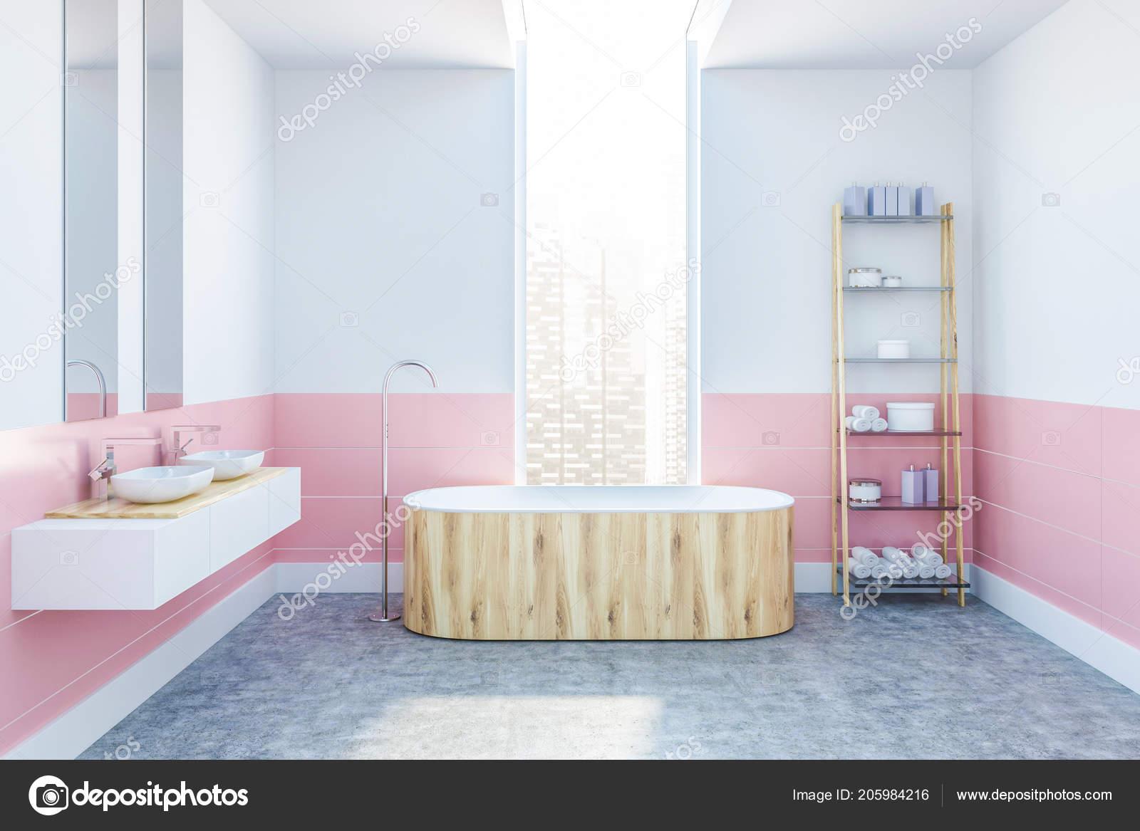 Intérieur De Salle De Bains Moderne Avec Des Murs Blancs Et Roses, Un  Plancher De Béton, Une Baignoire En Bois Debout Sous La Fenêtre, Un Double  Lavabo Et ...