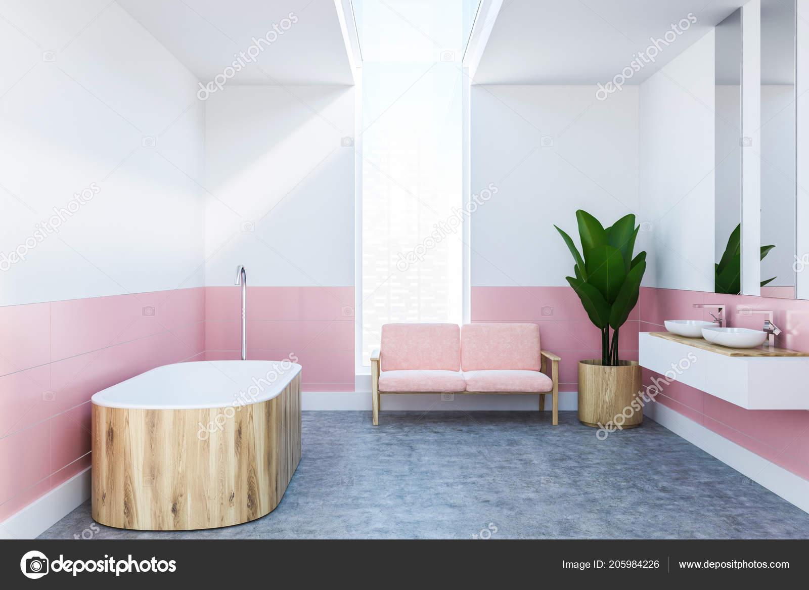 Coin Salle Bains Moderne Avec Des Murs Blancs Roses Plancher ...