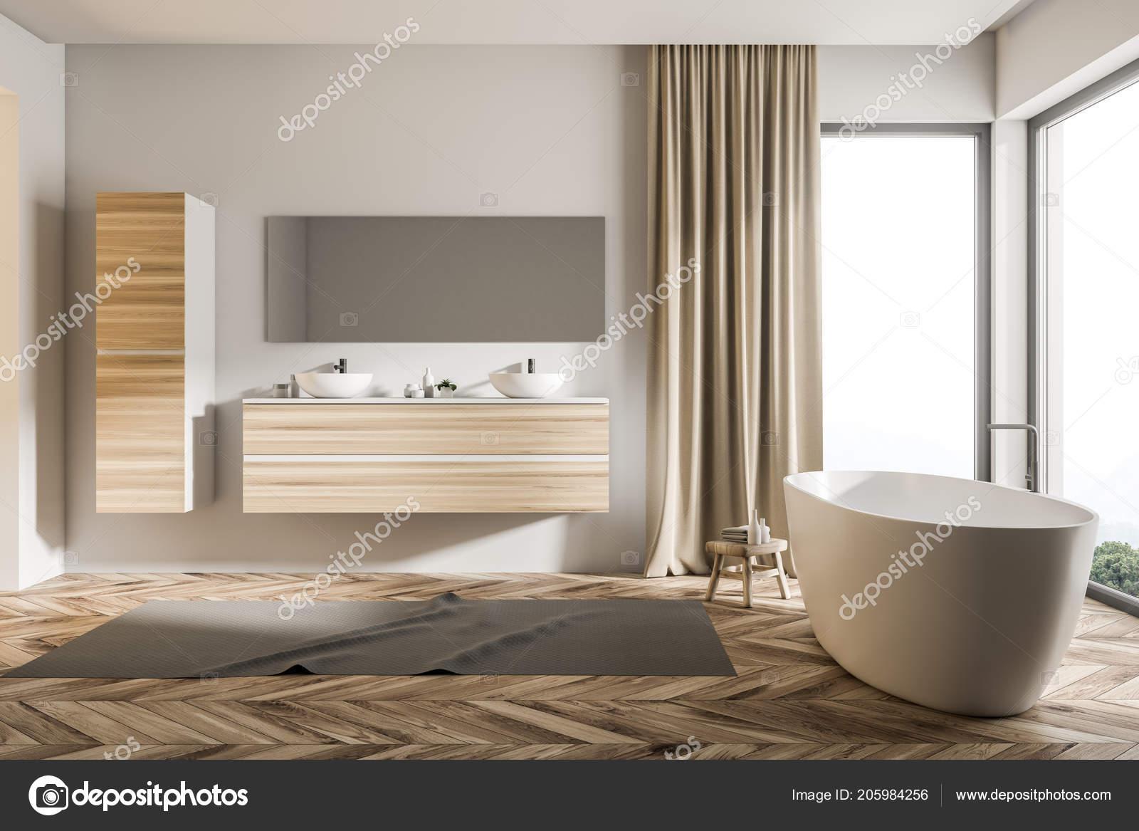 Loft badkamer interieur met een dubbele wastafel een houten plank