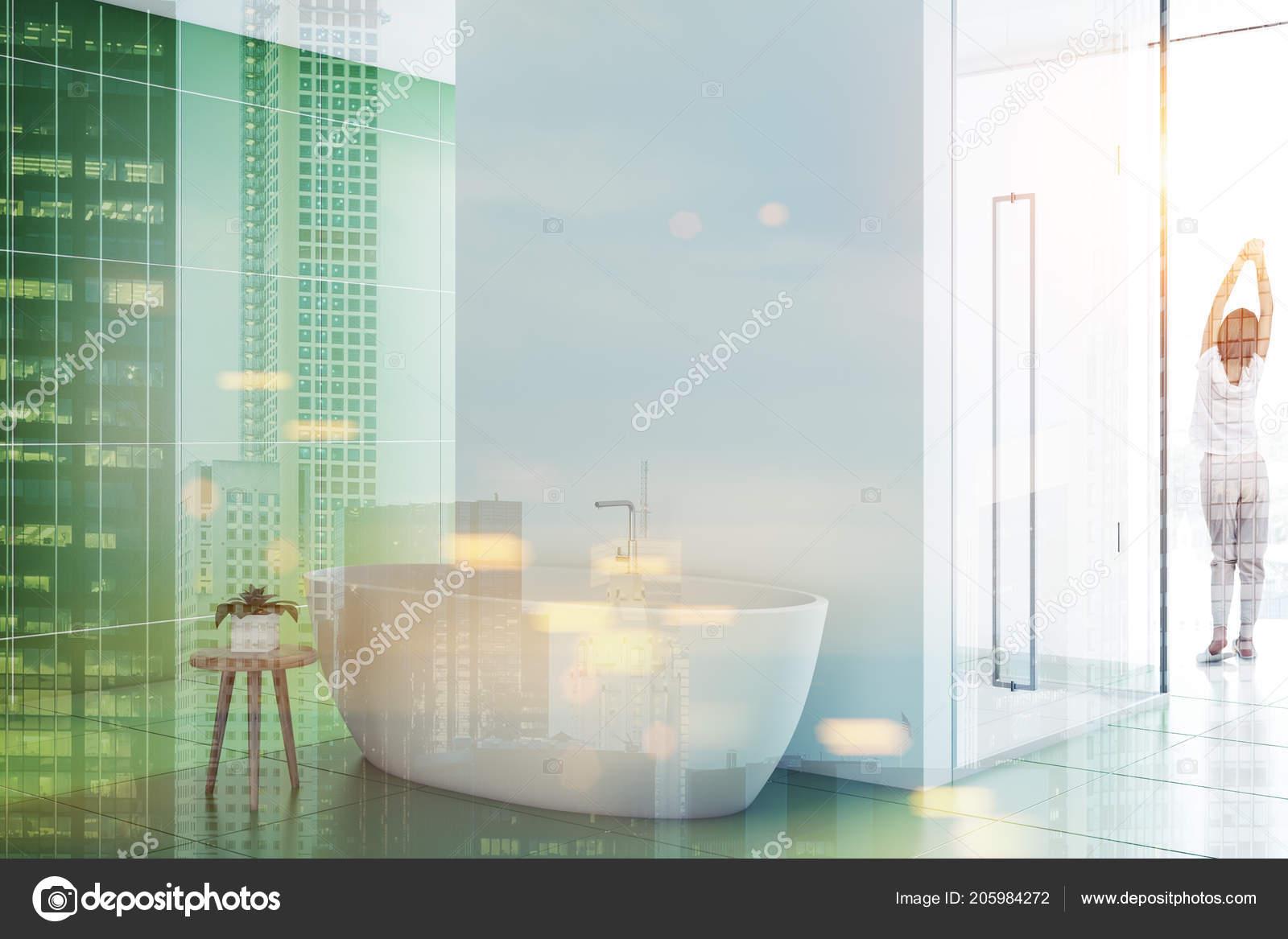Woman Green Tile Bathroom Interior Nice White Tub Glass Door — Stock ...
