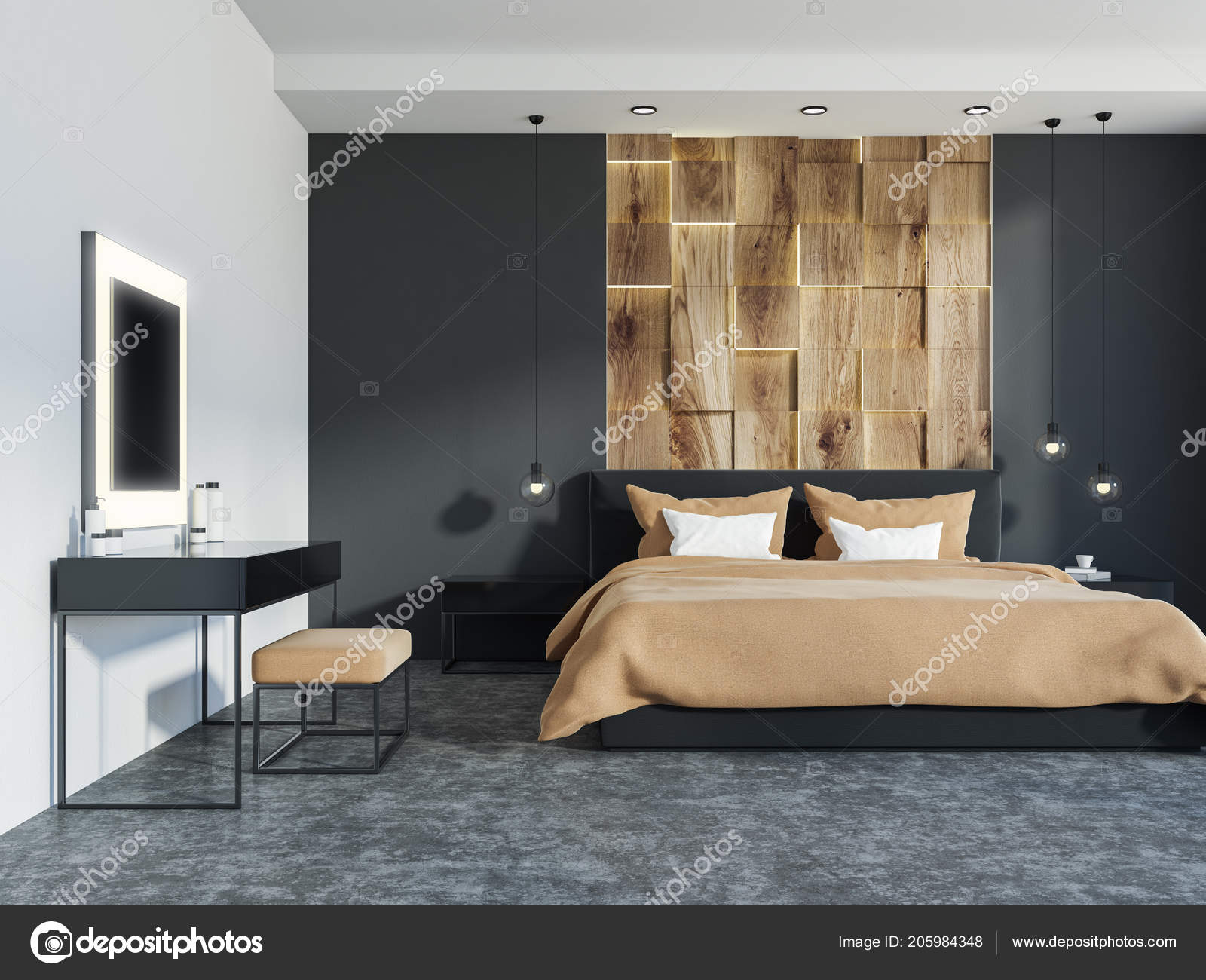 Master Schlafzimmer Einrichtung Mit Holz Und Graue Wände Ein ...